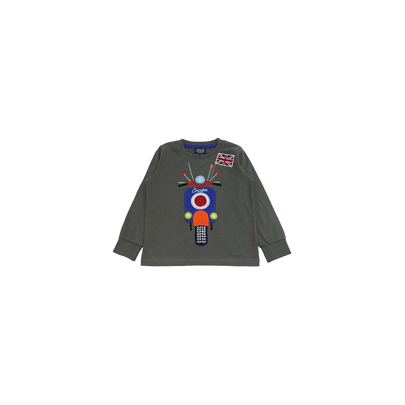 Футболка с длинным рукавом для мальчика MinotiФутболка с длинным рукавом для мальчика от популярной английской марки Minoti<br><br>Модная футболка отличается продуманным кроем и эффектным дизайном. Модель легко надевается, отлично смотрится, не стесняет движения. Материал содержит натуральный хлопок, гипоаллергенный, дышащий и приятный на ощупь.<br><br>Особенности модели:<br><br>- материал: трикотаж;<br>- цвет: хаки;<br>- аппликация из трикотажа - мотоцикл;<br>- ворот круглый, с окантовкой;<br>- на рукавах - манжеты из широкой трикотажной резинки.<br><br>Дополнительная информация:<br><br>Состав: 100% хлопок<br><br>Уход за изделием:<br><br>стирка в машине при температуре до 30°С,<br>не отбеливать,<br>гладить на средней температуре.<br><br>Футболку с длинным рукавом для мальчика от Minoti (Минотти) можно купить в нашем магазине<br><br>Ширина мм: 190<br>Глубина мм: 74<br>Высота мм: 229<br>Вес г: 236<br>Цвет: хаки<br>Возраст от месяцев: 12<br>Возраст до месяцев: 18<br>Пол: Мужской<br>Возраст: Детский<br>Размер: 86/92,80/86,98/104,92/98<br>SKU: 4263424