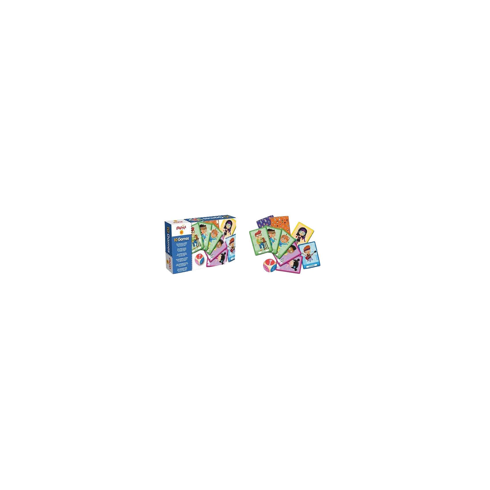 LUDATTICA Игра настольная 10 ИГР (10 в 1)Настольные игры для всей семьи<br>Набор оригинальных и веселых игр с двумя колодами карт большого размера. Каждый участник может, бросив кубик, выбрать одну из 10 игр.<br>Этот комплект развивает логику, внимание, память и целеустремленность.<br>Продукт разработан в Италии, в Центре Исследований и Разработки Lisciani.<br>ИллюстраторМаттиаЧерато(MattiaCerato)<br>Состав набора: 2 колоды по 25 карт; кубик; инструкции<br>Размер коробки: 22,5х13,5х4,5 см<br>Возраст: 3-7 лет<br><br>Ширина мм: 230<br>Глубина мм: 144<br>Высота мм: 50<br>Вес г: 739<br>Возраст от месяцев: 36<br>Возраст до месяцев: 72<br>Пол: Унисекс<br>Возраст: Детский<br>SKU: 4264831
