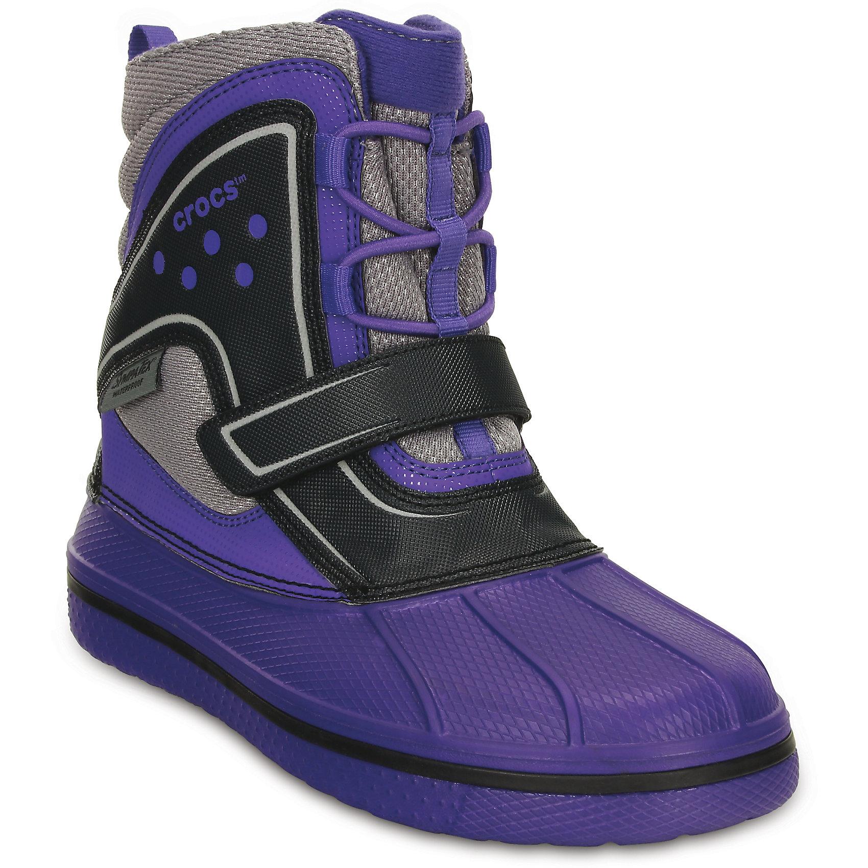 Ботинки CrocsИ в мороз, и в слякоть – в любых условиях и вопреки любым прогнозам синоптиков в этих ботинках ноги останутся сухими и теплыми! Использование мембраны Sympatex® делает их на 100% водонепроницаемыми. Мембрана позволяет обуви «дышать», предохраняет от намокания и сохраняет ноги сухими и теплыми. Верх из искусственной кожи, полностью литая основа из материала Croslite™ для легкости и мягкости при ходьбе. Модель на шнуровке для оптимальной фиксации. Подкладка из материала Thinsulate™ сохранит тепло. Накат из резины на подошве для большей устойчивости. Наличие светоотражающих элементов. Эластичные шнурки облегчат надевание. Глухой язычок предотвращает попадание воды внутрь, а липучки надежно фиксируют ступню. При использовании данной модели необходимо следовать общим рекомендациям по ношению обуви с мембранными материалами.<br><br>Ширина мм: 262<br>Глубина мм: 176<br>Высота мм: 97<br>Вес г: 427<br>Цвет: фиолетовый<br>Возраст от месяцев: 96<br>Возраст до месяцев: 108<br>Пол: Унисекс<br>Возраст: Детский<br>Размер: 32,28,31,26,34,33,30,29,27<br>SKU: 4265671