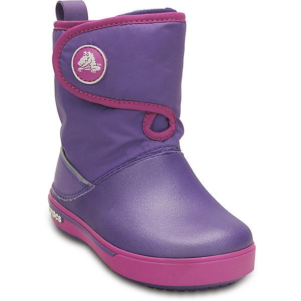 Сапоги Kids Crocband II.5 Gust Boot для девочки CrocsСапоги<br>Характеристики товара:<br><br>• цвет: фиолетовый<br>• материал: верх - нейлон, низ -100% полимер Croslite™<br>• материал подкладки: текстиль<br>• непромокаемая носочная часть<br>• температурный режим: от -15° до +15° С<br>• легко очищаются<br>• антискользящая подошва<br>• застежка: липучка<br>• толстая устойчивая подошва<br>• страна бренда: США<br>• страна изготовитель: Китай<br><br>Сапоги могут быть и стильными, и теплыми! Для детской обуви крайне важно, чтобы она была удобной. Такие сапоги обеспечивают детям необходимый комфорт, а теплая подкладка создает особый микроклимат. Сапоги легко надеваются и снимаются, отлично сидят на ноге. Материал, из которого они сделаны, не дает размножаться бактериям, поэтому такая обувь препятствует образованию неприятного запаха и появлению болезней стоп. Данная модель особенно понравится детям - ведь в них можно бегать по лужам!<br>Обувь от американского бренда Crocs в данный момент завоевала широкую популярность во всем мире, и это не удивительно - ведь она невероятно удобна. Её носят врачи, спортсмены, звёзды шоу-бизнеса, люди, которым много времени приходится бывать на ногах - они понимают, как важна комфортная обувь. Продукция Crocs - это качественные товары, созданные с применением новейших технологий. Обувь отличается стильным дизайном и продуманной конструкцией. Изделие производится из качественных и проверенных материалов, которые безопасны для детей.<br><br>Сапоги Kids Crocband II.5 Gust Boot от торговой марки Crocs можно купить в нашем интернет-магазине.<br>Ширина мм: 262; Глубина мм: 176; Высота мм: 97; Вес г: 427; Цвет: лиловый; Возраст от месяцев: -2147483648; Возраст до месяцев: 2147483647; Пол: Женский; Возраст: Детский; Размер: 23,27,34/35,33/34,31/32,32,29,30,25,26,31,33,34,24,28; SKU: 4265705;