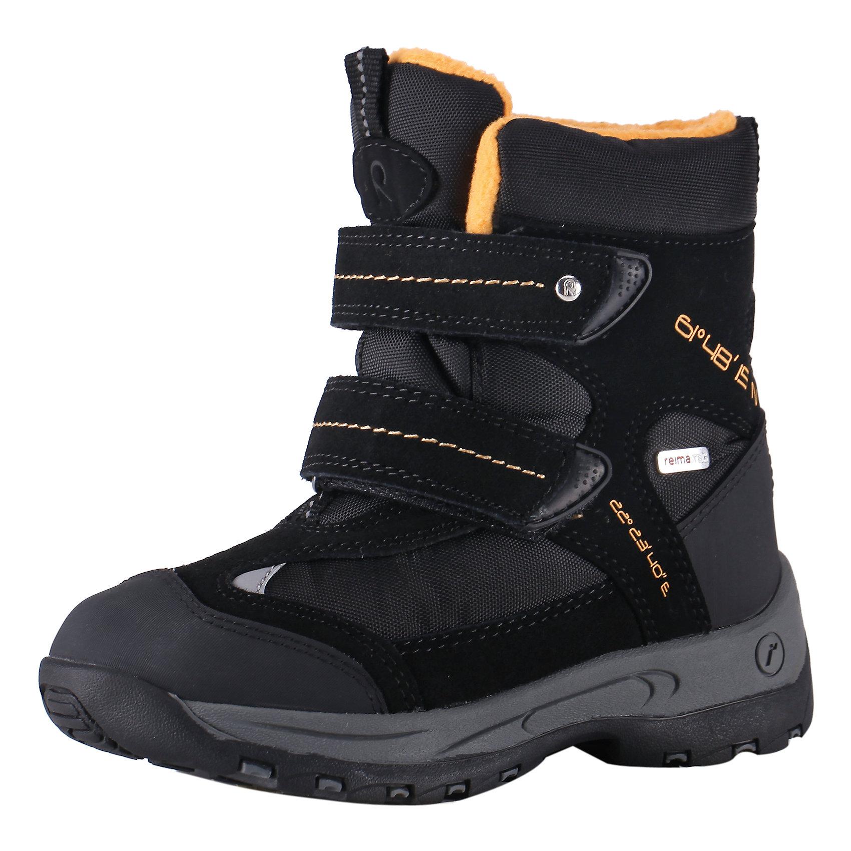 Ботинки Reimatec ReimaОбувь<br>Традиционные зимние ботинки  Reimatec® с удобными застежками - ремнями на липучках. Водонепроницаемый материал.<br><br>Традиционные зимние ботинки Reimatec® с удобными застежками на липучках<br>Замшевый верх из коровьей кожи, текстиля и прочной резины в области носка<br>Водонепроницаемые, с текстильной меховой подкладкой с запаянными швами<br>Резиновая подошва Reima обеспечат прекрасное сцепление на любой поверхности<br>Съемные стельки для подбора правильного размера<br>Светоотражающие детали<br>Состав: Подошва: Резина, Верх: 50% Полиэстер 20% Кожа 20% Полиуретан 10% Резина<br><br>Ботинки Reimatec Reima можно купить в нашем магазине.<br><br>Ширина мм: 262<br>Глубина мм: 176<br>Высота мм: 97<br>Вес г: 427<br>Цвет: черный<br>Возраст от месяцев: 21<br>Возраст до месяцев: 24<br>Пол: Унисекс<br>Возраст: Детский<br>Размер: 24,32,34,35,33,31,30,29,27,25,26,28<br>SKU: 4269233