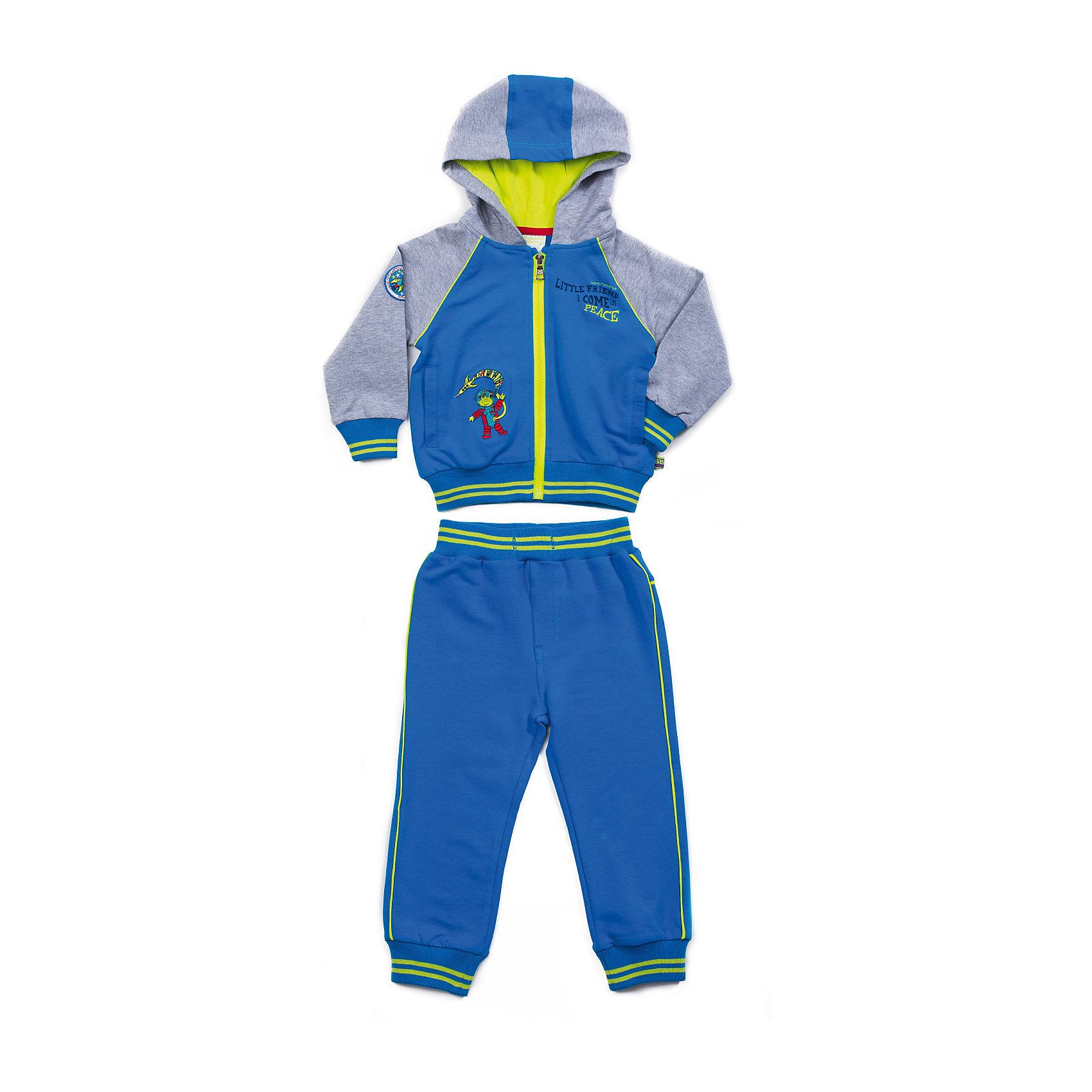 Спортивный костюм для мальчика Sweet BerryСпортивные костюмы<br>Яркий спортивный костюм для мальчика. Толстовка с капюшоном на яркой трикотажной подкладке, застежка - молния, манжеты и низ изделия - трикотажная резинка. Толстовка и брюки украшены яркой вышивкой, принтом, на рукаве шеврон, контрастным ярким кантом. Пояс на трикотажной резинке, регулируется хлопковым шнурком.<br>Состав:<br>95% хлопок, 5% эластан<br><br>Ширина мм: 247<br>Глубина мм: 16<br>Высота мм: 140<br>Вес г: 225<br>Цвет: серый/голубой<br>Возраст от месяцев: 9<br>Возраст до месяцев: 12<br>Пол: Мужской<br>Возраст: Детский<br>Размер: 80,86,98,92<br>SKU: 4273227