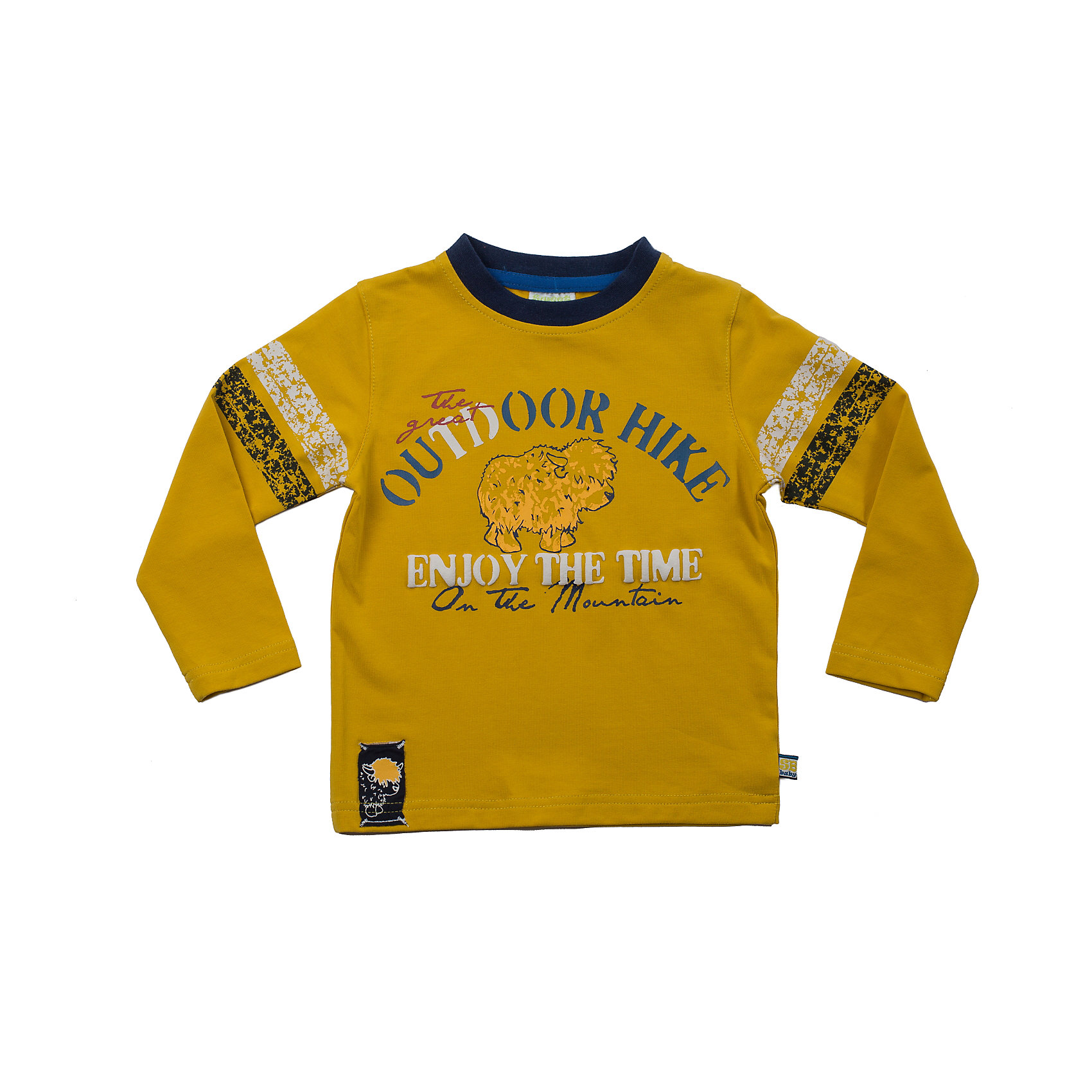 Футболка с длинным рукавом для мальчика Sweet BerryЯркая футболка с длинным рукавом для мальчика. Горловина из трикотажной эластичной резинки контрастного цвета. Футболка декорированна ярким принтом, нашивкой.<br>Состав:<br>95% хлопок, 5% эластан<br><br>Ширина мм: 230<br>Глубина мм: 40<br>Высота мм: 220<br>Вес г: 250<br>Цвет: желтый<br>Возраст от месяцев: 9<br>Возраст до месяцев: 12<br>Пол: Мужской<br>Возраст: Детский<br>Размер: 80,92,86,98<br>SKU: 4273262
