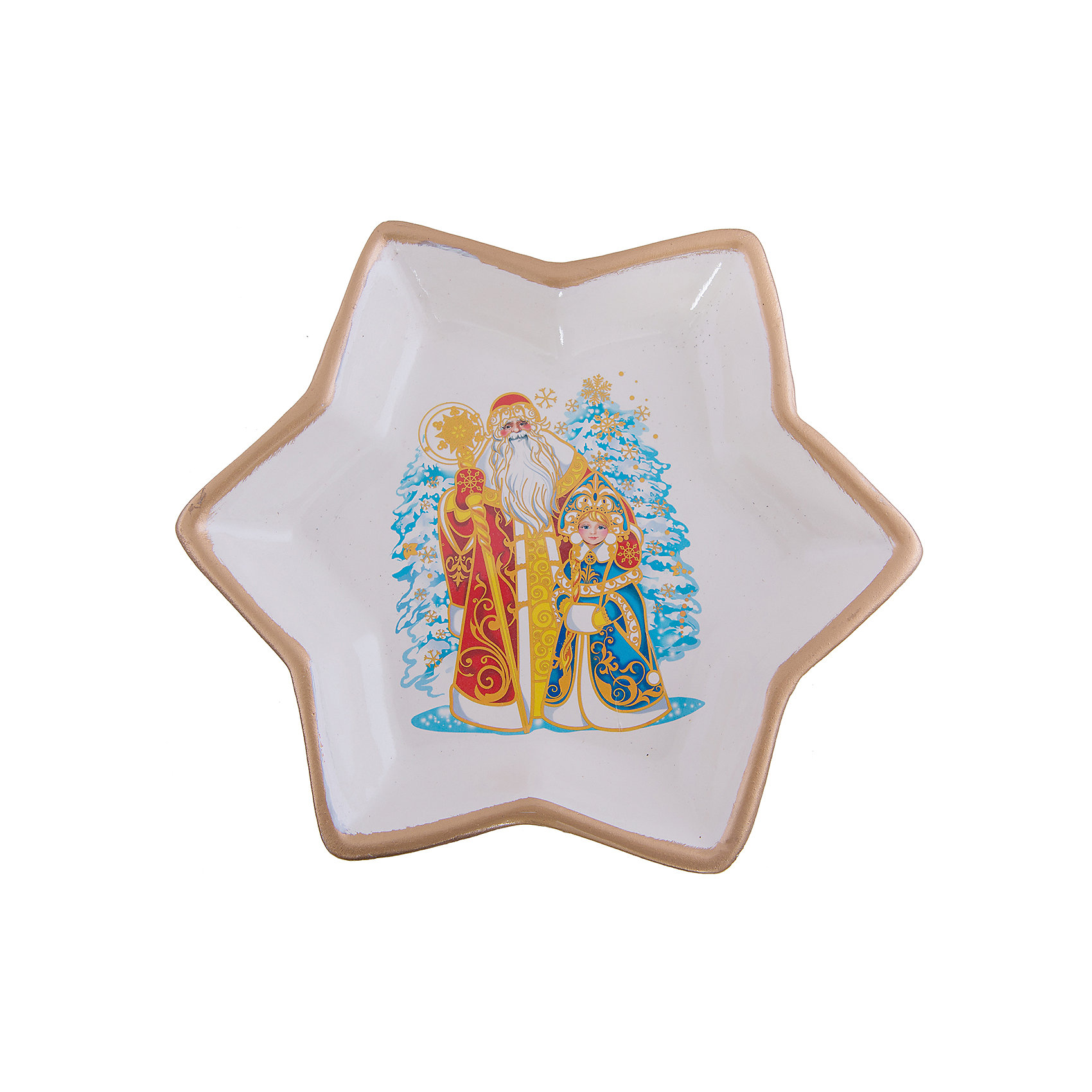 Керамическая тарелка Новый годДекоративная керамическая тарелка Новый год, Феникс-презент, замечательно украсит Ваш новогодний интерьер и поможет создать волшебную атмосферу новогодних праздников. Тарелка выполнена в форме пятиконечной звезды и оформлена нарядным изображением Деда Мороза и Снегурочки на фоне заснеженных елей. <br><br><br>Дополнительная информация:<br><br>- Материал: керамика.<br>- Размер тарелки: 20 х 20 х 3 см.<br>- Вес: 0,347 кг. <br><br>Керамическую тарелку Новый год, Феникс-презент, можно купить в нашем интернет-магазине.<br><br>Ширина мм: 210<br>Глубина мм: 210<br>Высота мм: 40<br>Вес г: 347<br>Возраст от месяцев: 36<br>Возраст до месяцев: 2147483647<br>Пол: Унисекс<br>Возраст: Детский<br>SKU: 4274656