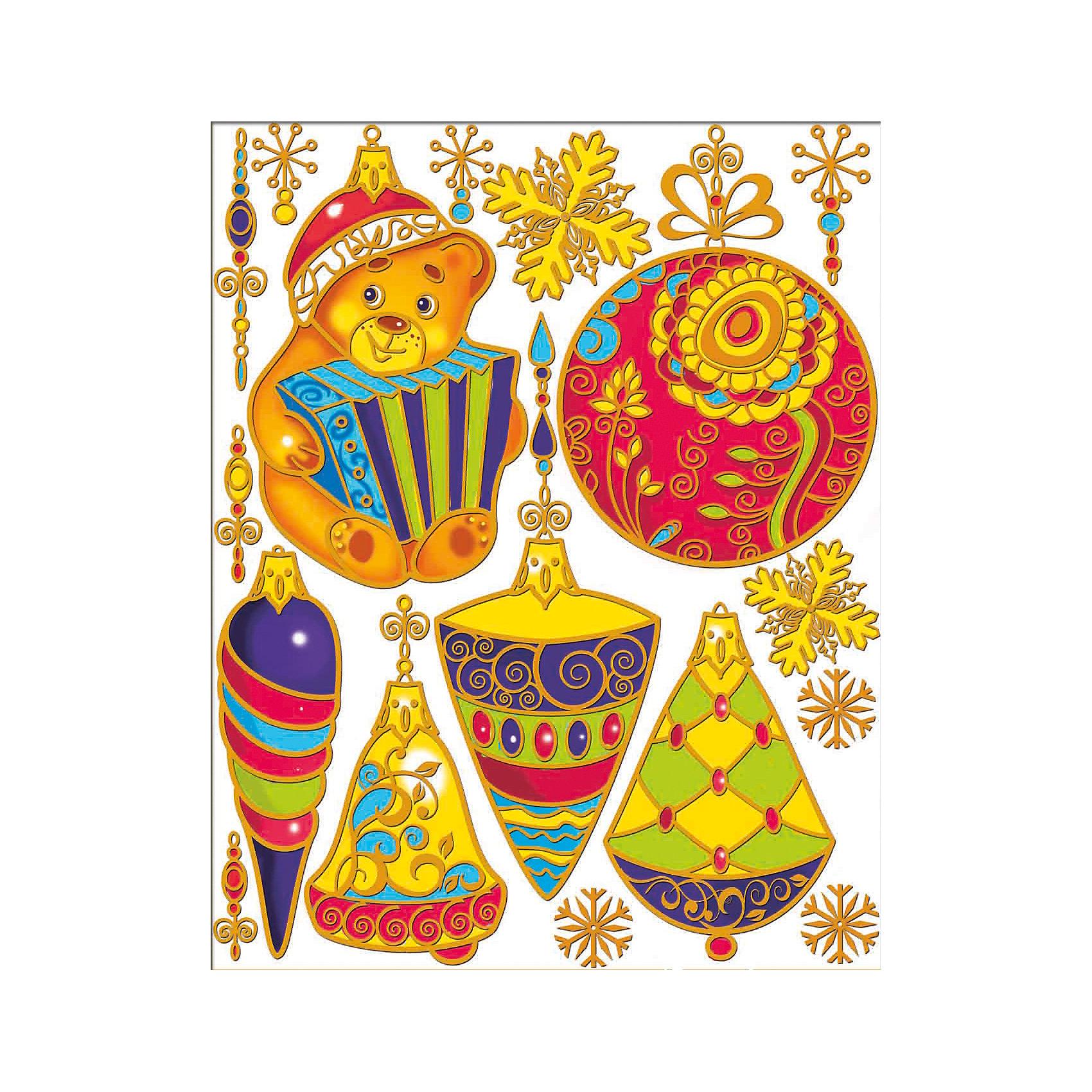 Наклейки на окно Елочные игрушки 30*38 смНовинки Новый Год<br>Украшение на окно Елочные игрушки, Феникс-презент, замечательно украсит Ваш интерьер и создаст праздничное новогоднее настроение. В комплекте несколько красочных наклеек с изображениями нарядных елочных игрушек и красивых снежинок. Рисунки декорировано глиттером и золотистыми блестками. Прочно крепятся к стеклу с помощью прозрачной клейкой пленки, на которую нанесены рисунки.<br><br><br>Дополнительная информация:<br><br>- Материал: ПВХ пленка.<br>- Размер листа с наклейками: 30 х 38 см.<br>- Размер наибольшей наклейки: 13 х 19,5 см.<br>- Размер наименьшей наклейки: 2,5 х 4 см. <br>- Вес: 73 гр. <br><br>Украшение на окно Елочные игрушки, Феникс-презент, можно купить в нашем интернет-магазине.<br><br>Ширина мм: 5<br>Глубина мм: 380<br>Высота мм: 300<br>Вес г: 73<br>Возраст от месяцев: 36<br>Возраст до месяцев: 2147483647<br>Пол: Унисекс<br>Возраст: Детский<br>SKU: 4274669