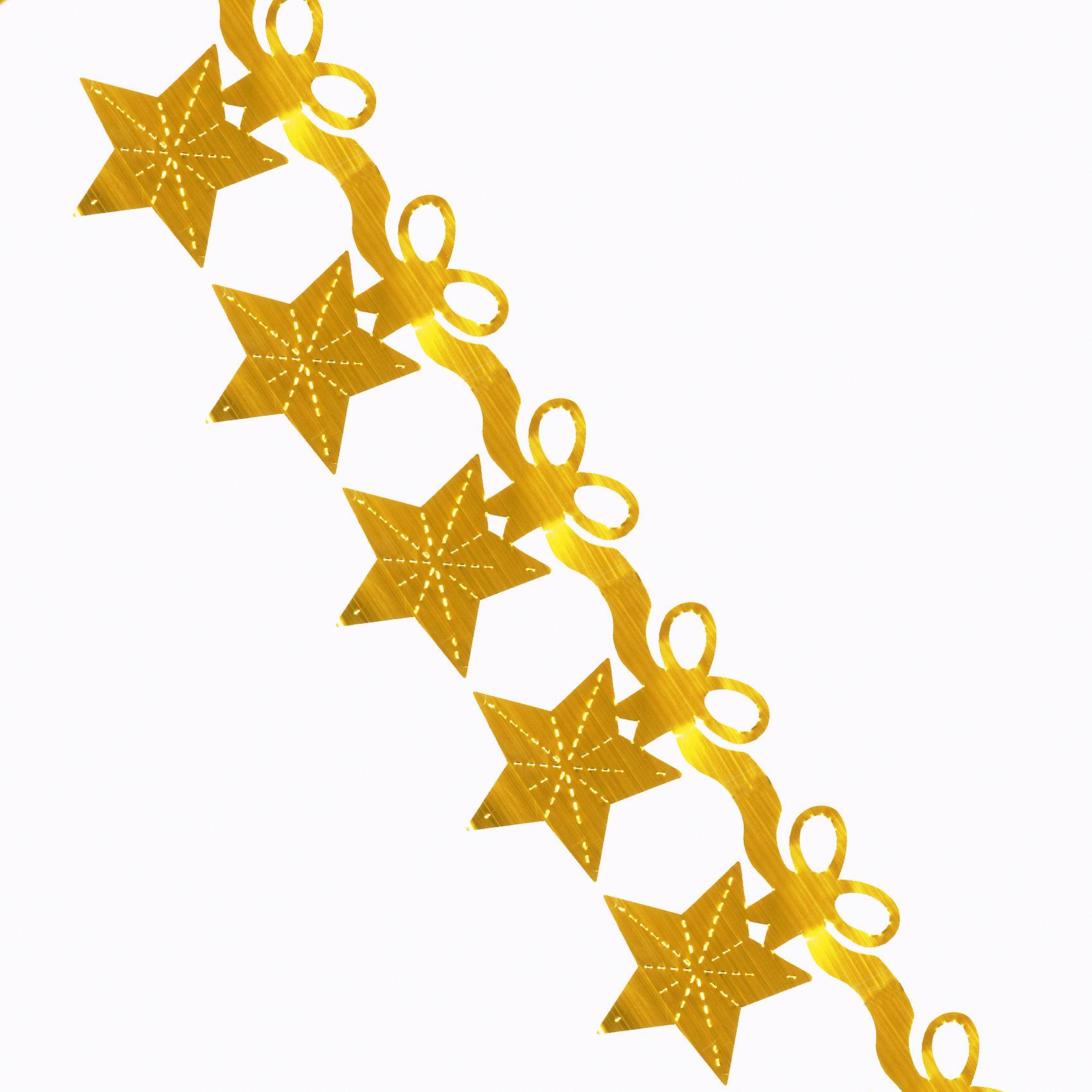 Гирлянда Звезды с бантиком 16*270 смГирлянда Звезды с бантиком, Феникс-презент, станет замечательным украшением Вашей новогодней елки или интерьера и поможет создать волшебную атмосферу новогодних праздников. Красивая золотистая гирлянда выполнена в форме звездочек, она будет чудесно смотреться<br>на елке и радовать детей и взрослых. <br><br><br>Дополнительная информация:<br><br>- Цвет: золото.<br>- Материал: ПЭТ (полиэтилентерефталат).<br>- Размер гирлянды: 16 х 270 см.<br>- Размер упаковки: 0,5 х 14 х 13 см.<br>- Вес: 10 гр. <br><br>Гирлянду Звезды с бантиком, Феникс-презент, можно купить в нашем интернет-магазине.<br><br>Ширина мм: 5<br>Глубина мм: 140<br>Высота мм: 130<br>Вес г: 10<br>Возраст от месяцев: 36<br>Возраст до месяцев: 2147483647<br>Пол: Унисекс<br>Возраст: Детский<br>SKU: 4274686