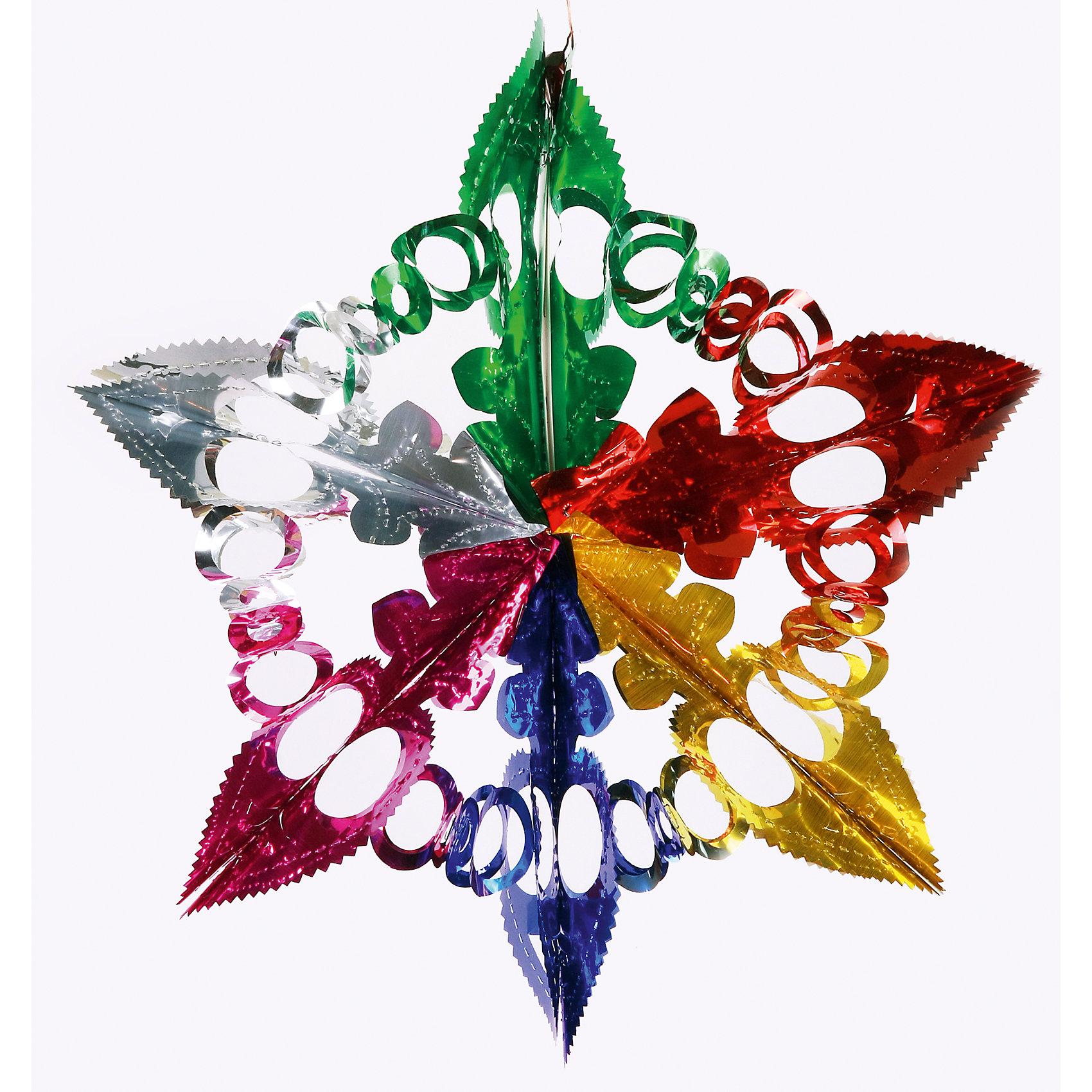 Гирлянда Ажурная снежинка 11*19 смГирлянда Ажурная снежинка, Феникс-презент, станет замечательным украшением Вашей новогодней елки или интерьера и поможет создать волшебную атмосферу новогодних праздников. Гирлянда выполнена в виде роскошной ажурной снежинки с разноцветными лучами, она<br>будет чудесно смотреться на елке и радовать детей и взрослых. <br><br><br>Дополнительная информация:<br><br>- Материал: ПЭТ (полиэтилентерефталат).<br>- Размер гирлянды: 11 х 19 см.<br>- Вес: 18 гр. <br><br>Гирлянду Ажурная снежинка, Феникс-презент, можно купить в нашем интернет-магазине.<br><br>Ширина мм: 5<br>Глубина мм: 130<br>Высота мм: 400<br>Вес г: 18<br>Возраст от месяцев: 36<br>Возраст до месяцев: 2147483647<br>Пол: Унисекс<br>Возраст: Детский<br>SKU: 4274688