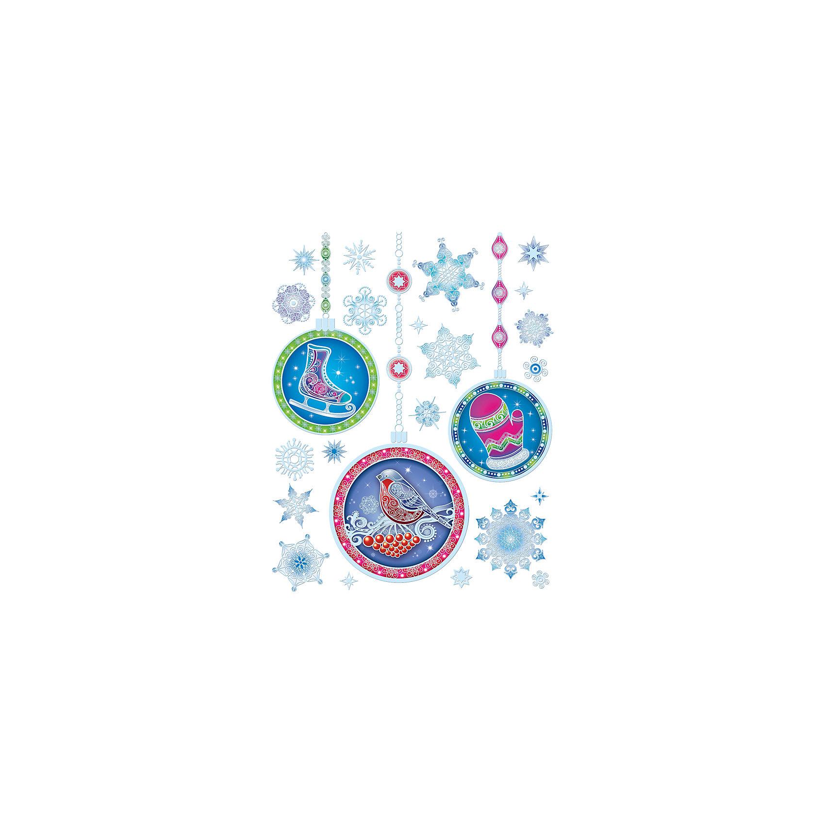 Украшение на окно 30*38 см ЗимаНовинки Новый Год<br>Украшение на окно Елочные украшения, Феникс-Презент, замечательно украсит Ваш интерьер и создаст праздничное новогоднее настроение. В комплекте несколько красочных наклеек с изображениями красивых елочных украшений и нарядных снежинок. Рисунки декорированы<br>глиттером и серебристыми блестками, прочно крепятся к стеклу с помощью прозрачной клейкой пленки, на которую нанесены изображения. Не оставляют следов на поверхности.<br><br><br>Дополнительная информация:<br><br>- Материал: ПВХ пленка.<br>- Размер листа с наклейками: 30 х 38 см.<br>- Размер упаковки: 44 x 30 x 0,2 см.   <br>- Вес: 60 гр. <br><br>Украшение на окно Елочные украшения, Феникс-Презент, можно купить в нашем интернет-магазине.<br><br>Ширина мм: 1<br>Глубина мм: 320<br>Высота мм: 460<br>Вес г: 100<br>Возраст от месяцев: 36<br>Возраст до месяцев: 2147483647<br>Пол: Унисекс<br>Возраст: Детский<br>SKU: 4274691