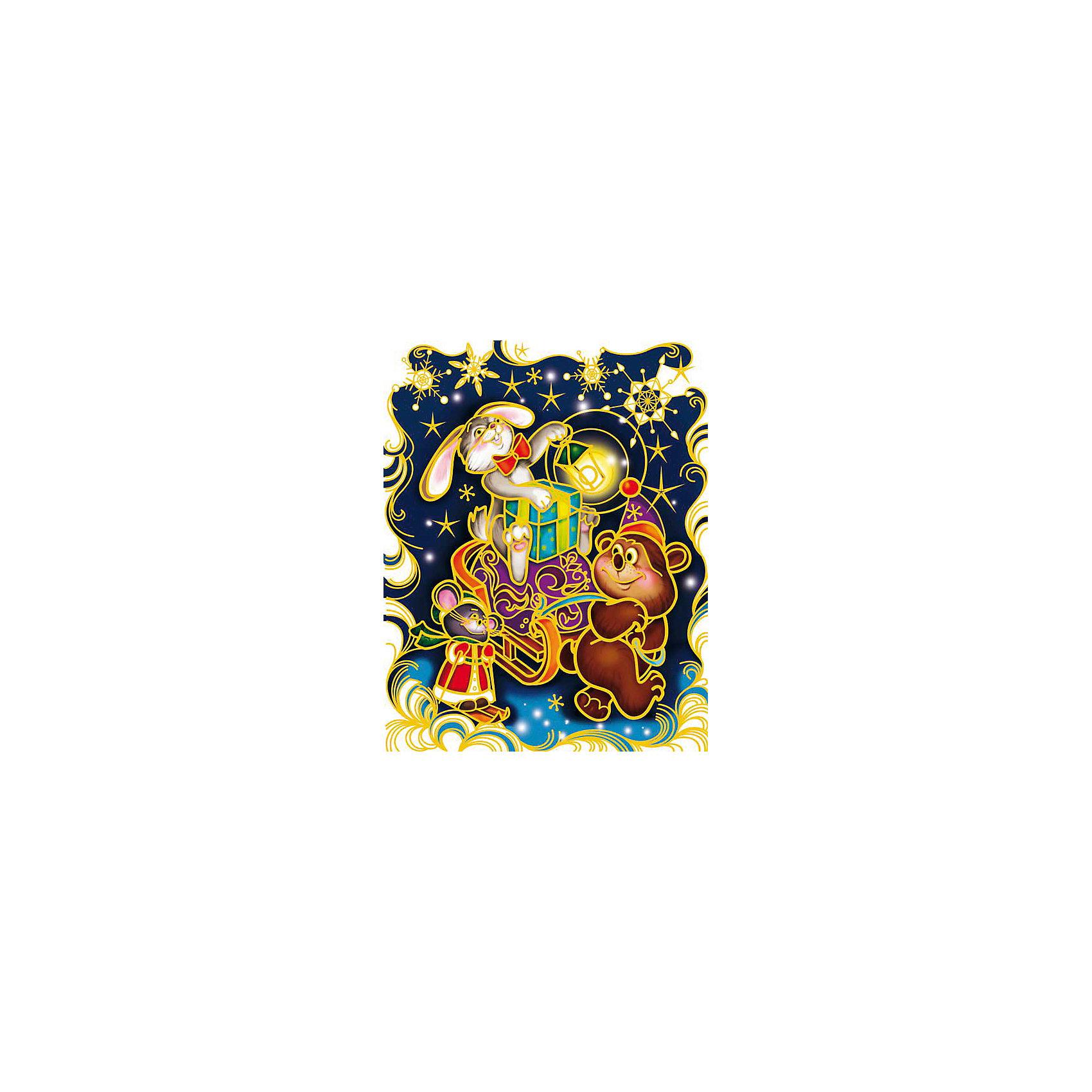 Украшение на окно С Новым Годом! 30*38 смУкрашение на окно С Новым Годом!, Феникс-Презент, замечательно украсит Ваш интерьер и создаст праздничное новогоднее настроение. В комплекте красочная наклейка с изображениями забавных лесных зверюшек, везущих сани с новогодними подарками. Рисунок декорирован<br>глиттером, прочно крепится к стеклу с помощью прозрачной клейкой пленки, на которую нанесены изображения. Не оставляет следов на поверхности.<br><br><br>Дополнительная информация:<br><br>- Материал: ПВХ пленка.<br>- Размер листа с наклейками: 30 х 38 см.<br>- Размер упаковки: 0,1 х 32 х 46 см.   <br><br>Украшение на окно С Новым Годом!, Феникс-Презент, можно купить в нашем интернет-магазине.<br><br>Ширина мм: 1<br>Глубина мм: 320<br>Высота мм: 460<br>Вес г: 100<br>Возраст от месяцев: 36<br>Возраст до месяцев: 2147483647<br>Пол: Унисекс<br>Возраст: Детский<br>SKU: 4274693