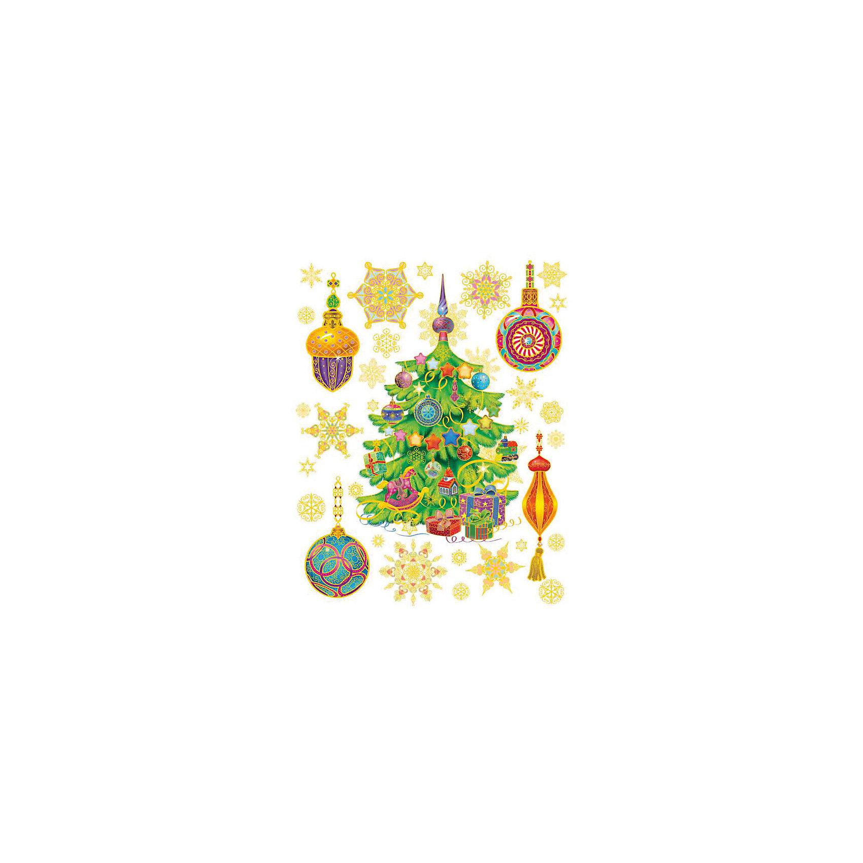 Украшение на окно Ёлка и игрушки 30*38 смНовинки Новый Год<br>Украшение на окно Ёлка и игрушки, Феникс-Презент, замечательно украсит Ваш интерьер и создаст праздничное новогоднее настроение. В комплекте несколько красочных наклеек с изображениями украшенной елки, елочных игрушек и нарядных снежинок. Рисунки декорированы<br>глиттером и золотистыми блестками, прочно крепятся к стеклу с помощью прозрачной клейкой пленки, на которую нанесены изображения. Не оставляют следов на поверхности.<br><br><br>Дополнительная информация:<br><br>- Материал: ПВХ пленка.<br>- Размер листа с наклейками: 30 х 38 см.<br>- Размер упаковки: 44 х 30 х 0,5 см.   <br>- Вес: 60 гр. <br><br>Украшение на окно Ёлка и игрушки, Феникс-Презент, можно купить в нашем интернет-магазине.<br><br>Ширина мм: 320<br>Глубина мм: 420<br>Высота мм: 1<br>Вес г: 100<br>Возраст от месяцев: 36<br>Возраст до месяцев: 2147483647<br>Пол: Унисекс<br>Возраст: Детский<br>SKU: 4274697