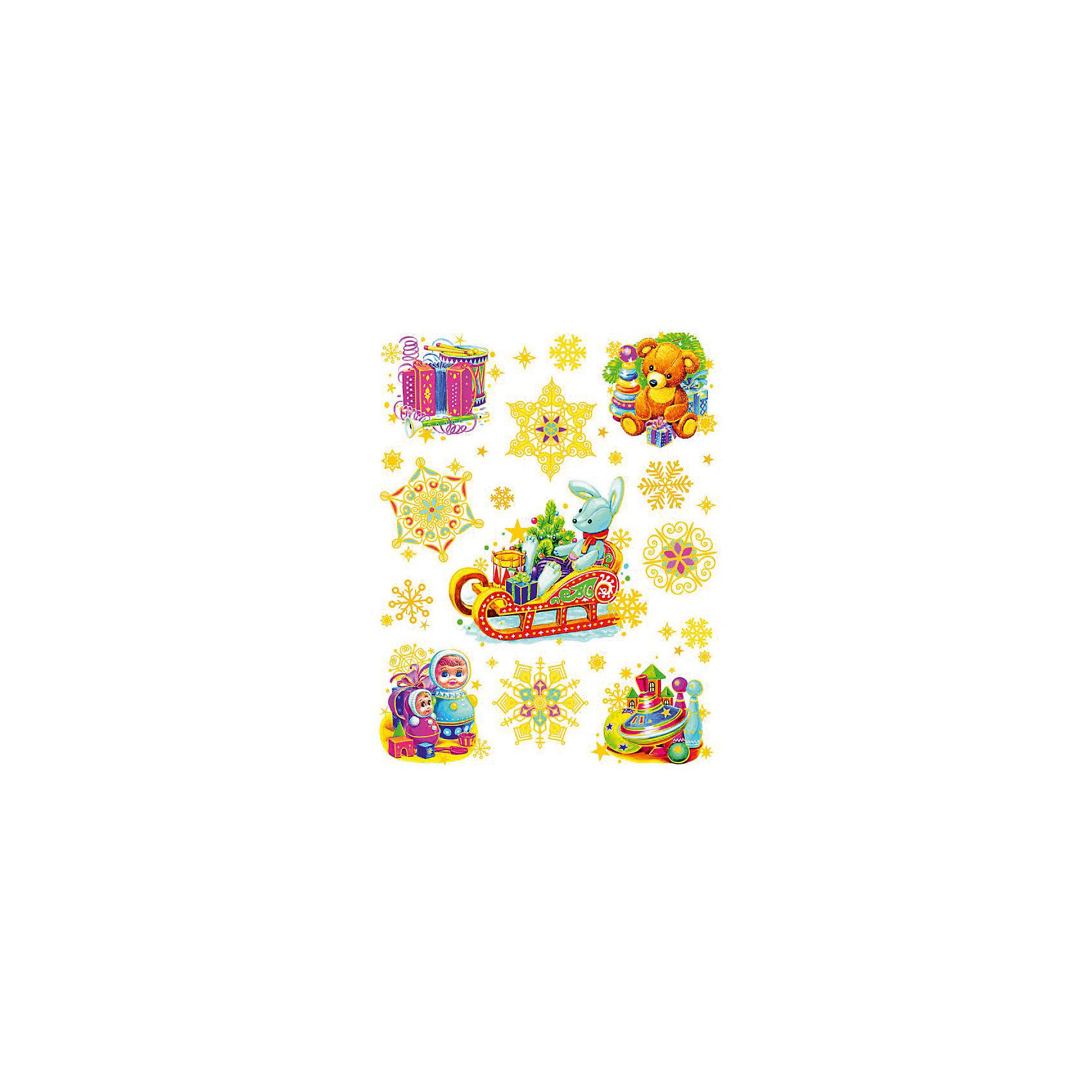 Украшение на окно Зайчик на санях и игрушки 30*38 смНовинки Новый Год<br>Украшение на окно Зайчик на санях и игрушки, Феникс-Презент, замечательно украсит Ваш интерьер и создаст праздничное новогоднее настроение. В комплекте несколько красочных наклеек с изображениями милого зайчика, везущего на санях подарки, детских игрушек и<br>нарядных снежинок. Рисунки декорированы глиттером и золотистыми блестками, прочно крепятся к стеклу с помощью прозрачной клейкой пленки, на которую нанесены изображения. Не оставляют следов на поверхности.<br><br><br>Дополнительная информация:<br><br>- Материал: ПВХ пленка.<br>- Размер листа с наклейками: 30 х 38 см.<br>- Размер упаковки: 44 х 30 х 0,5 см.   <br>- Вес: 60 гр. <br><br>Украшение на окно Зайчик на санях и игрушки, Феникс-Презент, можно купить в нашем интернет-магазине.<br><br>Ширина мм: 320<br>Глубина мм: 420<br>Высота мм: 1<br>Вес г: 100<br>Возраст от месяцев: 36<br>Возраст до месяцев: 2147483647<br>Пол: Унисекс<br>Возраст: Детский<br>SKU: 4274698