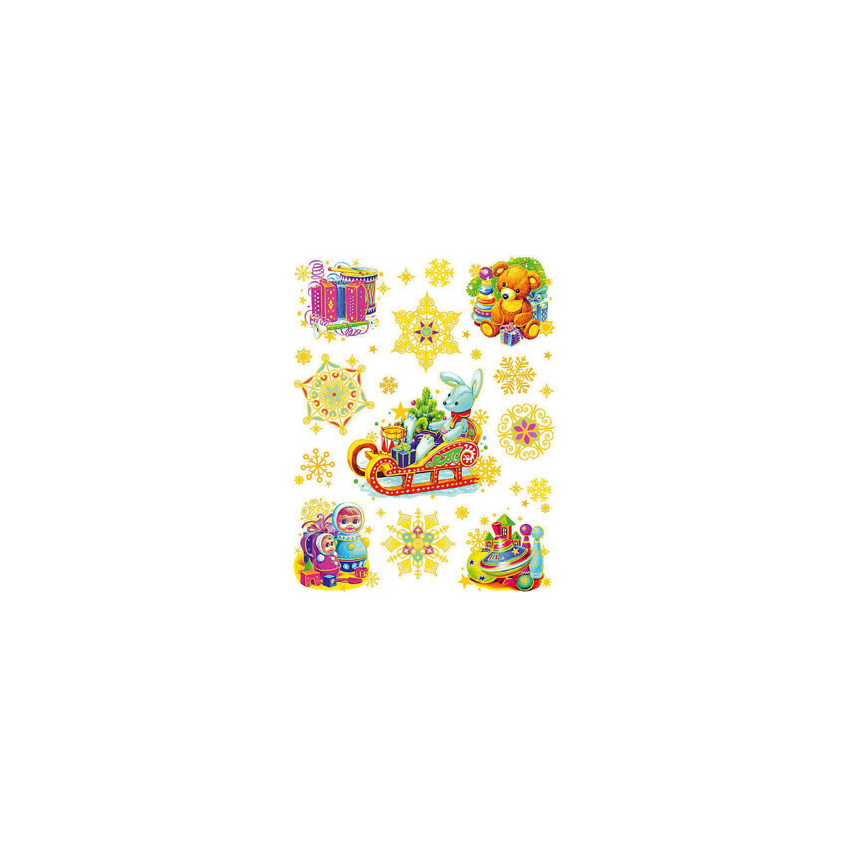 Украшение на окно Зайчик на санях и игрушки