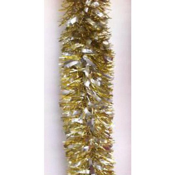 Золотая мишура 9*200 смНовогодняя мишура и бусы<br>Золотая мишура, Феникс-Презент, станет замечательным украшением Вашей новогодней елки или интерьера и поможет создать праздничную волшебную атмосферу. Мишура красивого золотистого цвета выполнена в виде скрученной косички. Внутри имеется проволока,<br>позволяющая ей хорошо сохранять форму. Золотая мишура будет чудесно смотреться на елке и радовать детей и взрослых. <br><br><br>Дополнительная информация:<br><br>- Цвет: золото.<br>- Материал: ПЭТ (полиэтилентерефталат).<br>- Размер мишуры: 9 х 200 см.<br>- Вес: 38 гр. <br><br>Золотую мишуру 9*200 см., Феникс-Презент, можно купить в нашем интернет-магазине.<br>Ширина мм: 20; Глубина мм: 200; Высота мм: 90; Вес г: 38; Возраст от месяцев: 36; Возраст до месяцев: 2147483647; Пол: Унисекс; Возраст: Детский; SKU: 4274709;