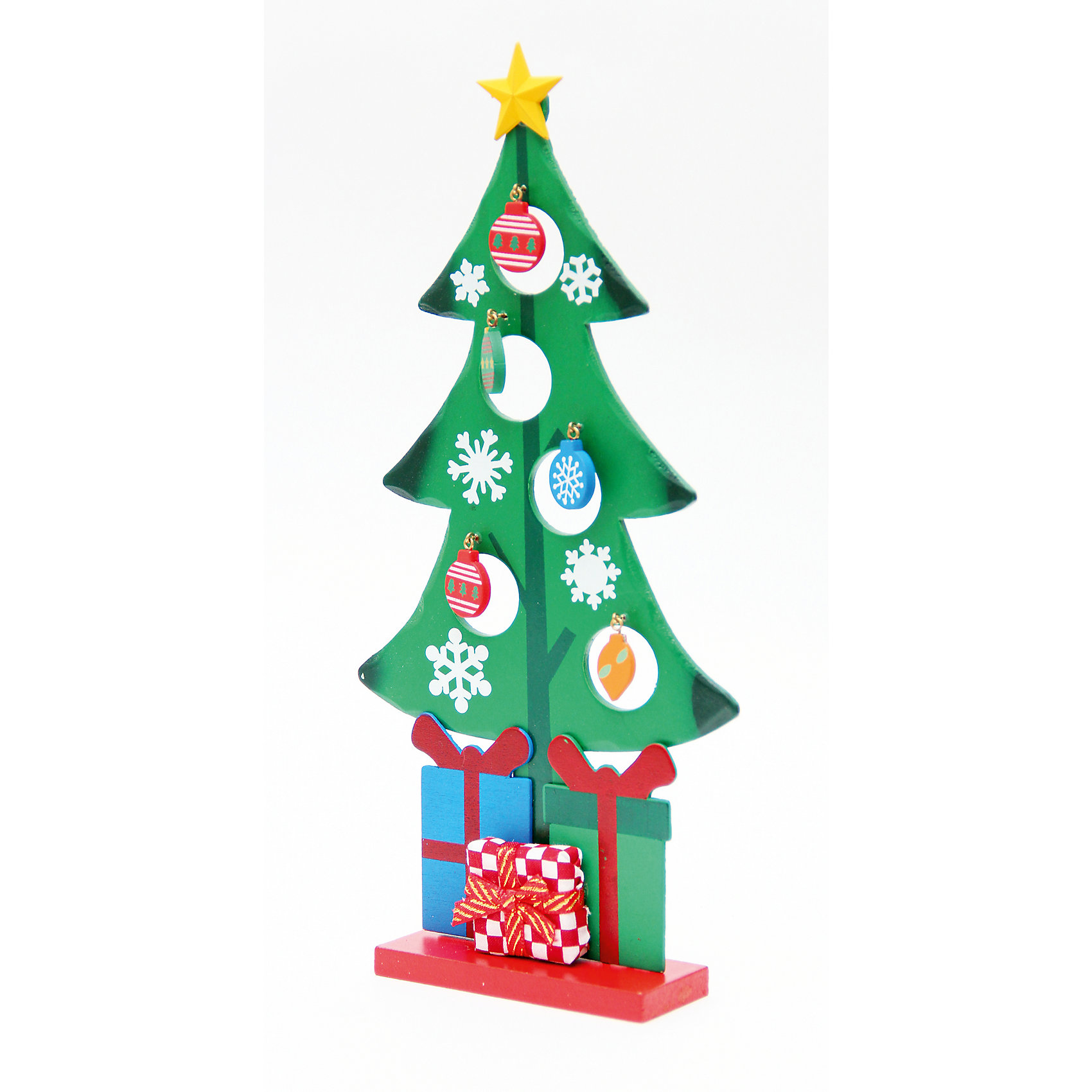 Деревянное украшение Рождественская ёлочка 28 смНовинки Новый Год<br>Деревянное украшение Рождественская ёлочка, Феникс-презент, замечательно украсит Ваш интерьер и станет приятным сувениром для родных и друзей. Украшение выполнено в виде зеленой новогодней елочки на подставке и разрисовано изображениями снежинок. Верхушку<br>елочки украшает желтая звезда. В елке имеются круглые отверстия с небольшими металлическими крючками, на которые можно повесить деревянные елочные игрушки, входящие в комплект. Симпатичная елочка порадует и взрослых и детей и создаст волшебную атмосферу<br>новогодних праздников. <br><br><br>Дополнительная информация:<br><br>- Материал: древесина тополя.<br>- Высота елки: 28 см.<br>- Размер подставки: 9,5 х 3,5 см.<br>- Размер упаковки: 29 x 18 x 3 см.<br><br>Деревянное украшение Рождественская ёлочка, Феникс-презент, можно купить в нашем интернет-магазине.<br><br>Ширина мм: 290<br>Глубина мм: 180<br>Высота мм: 30<br>Вес г: 100<br>Возраст от месяцев: 36<br>Возраст до месяцев: 2147483647<br>Пол: Унисекс<br>Возраст: Детский<br>SKU: 4274721