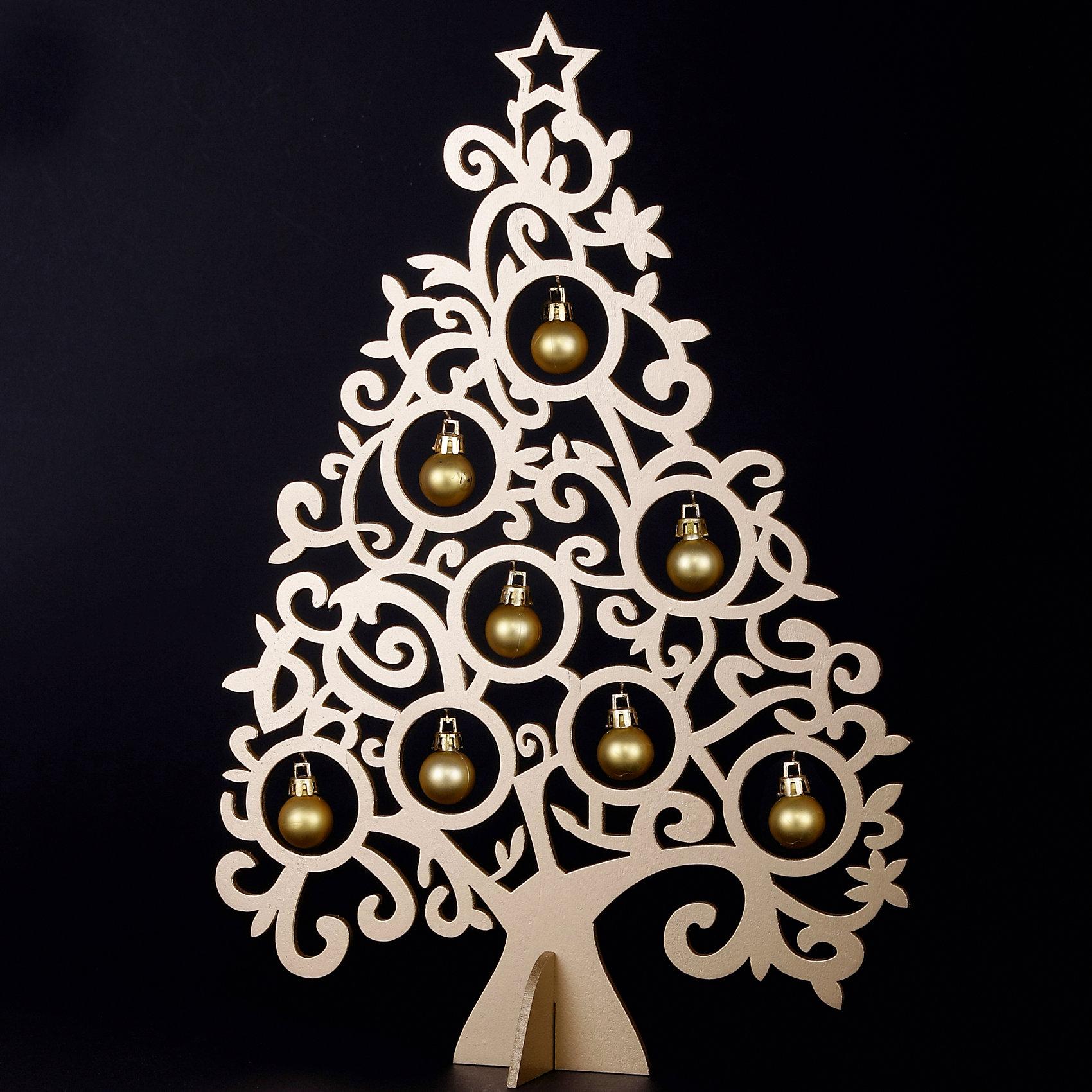 Деревянное украшение Ажурная ель 37 см (золотая)Деревянное украшение Ажурная ель, Феникс-презент, замечательно украсит Ваш интерьер и станет приятным сувениром для родных и друзей. Украшение выполнено в виде ажурной новогодней елочки золотистого цвета со звездой на вершине. В елке имеются круглые отверстия с<br>небольшими металлическими крючками, на которые можно подвесить новогодние пластиковые шарики (входят в комплект). Симпатичный сувенир порадует и взрослых и детей и создаст волшебную атмосферу новогодних праздников. <br><br><br>Дополнительная информация:<br><br>- Цвет: золотой.<br>- Материал: древесина тополя, пластик.<br>- Высота елки: 37 см.<br>- Размер упаковки: 39 x 28 x 2 см.<br><br>Деревянное украшение Ажурная ель (золотая), Феникс-презент, можно купить в нашем интернет-магазине.<br><br>Ширина мм: 380<br>Глубина мм: 200<br>Высота мм: 10<br>Вес г: 100<br>Возраст от месяцев: 36<br>Возраст до месяцев: 2147483647<br>Пол: Унисекс<br>Возраст: Детский<br>SKU: 4274740
