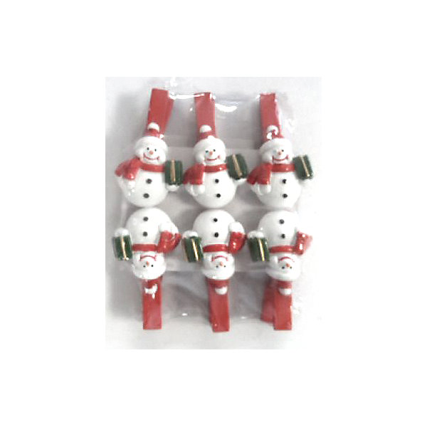 Набор декоративных прищепок Снеговик с подарком (6 шт)Новогодние сувениры<br>Набор декоративных прищепок Снеговик с подарком (6 шт) – это весёлый новогодний аксессуар, который принесёт ощущение праздника.<br>Забавные декоративные прищепки Снеговик с подарком подарят праздничное настроение и сделают новогодний интерьер задорней и ярче. Деревянные прищепки, декорированные фигуркой веселого снеговика, который держит подарок, станут отличным украшением для праздничной ели, новогодних подарков и сувениров. С помощью прищепок можно прикреплять открытки с новогодними поздравлениями.<br><br>Дополнительная информация:<br><br>- В наборе: 6 шт.<br>- Цвет: красный, белый, зеленый<br>- Размер упаковки: 9,3 х 8 х 1,8 см.<br>- Материал: древесина березы с декором из полирезины<br><br>Набор декоративных прищепок Снеговик с подарком (6 шт) можно купить в нашем интернет-магазине.<br>Ширина мм: 110; Глубина мм: 90; Высота мм: 30; Вес г: 100; Возраст от месяцев: 36; Возраст до месяцев: 2147483647; Пол: Унисекс; Возраст: Детский; SKU: 4274751;
