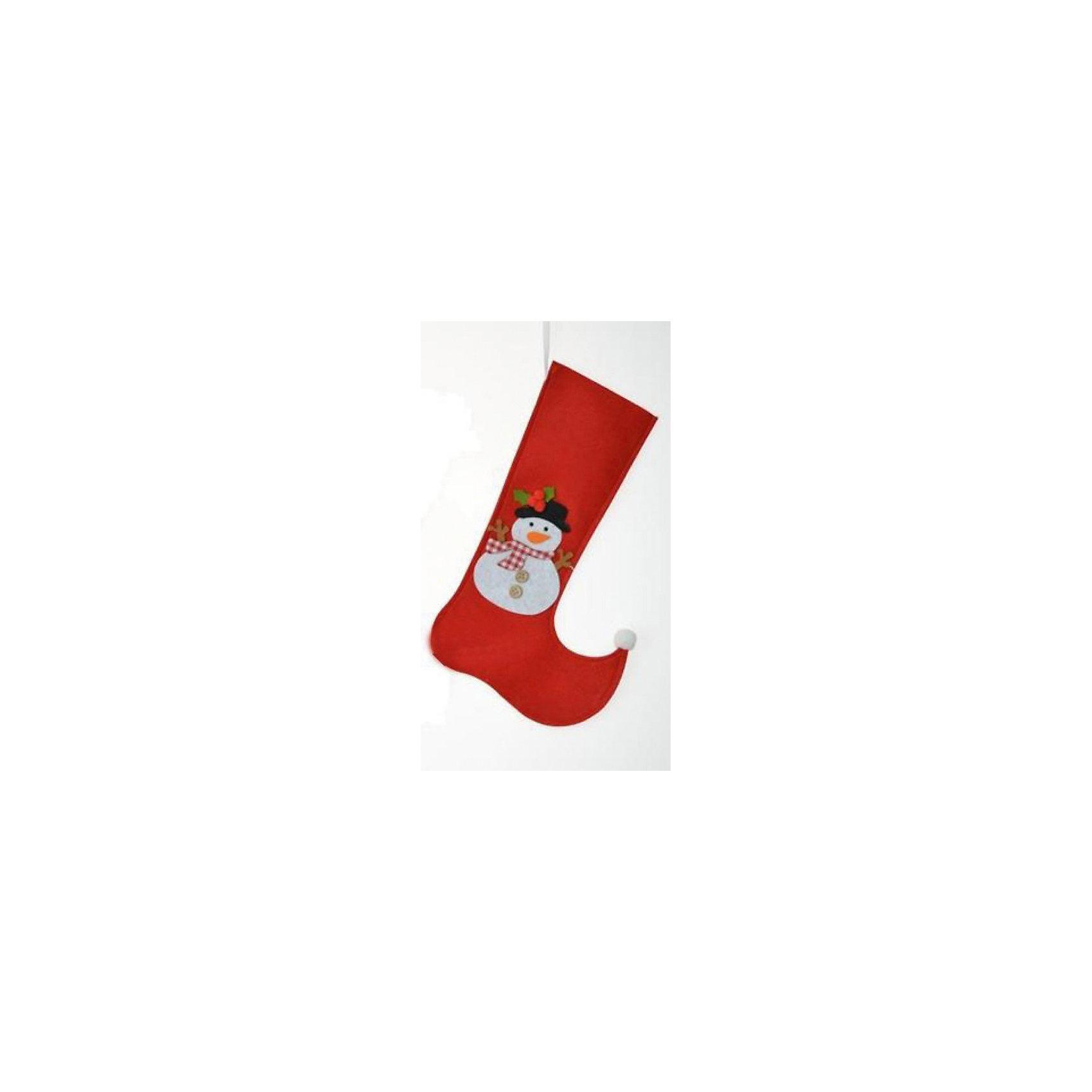 Подвесное украшение Сапожок со снеговиком 17*29 смПодвесное украшение Сапожок со снеговиком 17*29 см – этот новогодний аксессуар принесет в ваш дом волшебство и красоту праздника.<br>Подвесное украшение Сапожок со снеговиком - это незаменимый элемент новогоднего и рождественского домашнего декора, а также отличная упаковка для новогоднего подарка. Положенный в него подарок будет запоминающимся и принесёт радость вашим детям. Сапожок выполнен из синтетического фетра, декорирован изображением снеговика. С помощью петельки его можно подвесить в любое понравившееся место.<br><br>Дополнительная информация:<br><br>- Размер: 17 х 29 см<br>- Материал: синтетический фетр<br><br>Подвесное украшение Сапожок со снеговиком 17*29 см можно купить в нашем интернет-магазине.<br><br>Ширина мм: 10<br>Глубина мм: 100<br>Высота мм: 250<br>Вес г: 24<br>Возраст от месяцев: 36<br>Возраст до месяцев: 2147483647<br>Пол: Унисекс<br>Возраст: Детский<br>SKU: 4274764