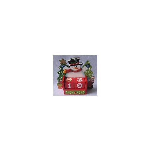 Деревянное украшение Снеговик 17*6*17,5 смНовогодние календари<br>Деревянное украшение Снеговик 17*6*17,5 см - это декоративная игрушка, которая станет незаменимым атрибутом новогоднего торжества.<br>Деревянное украшение Снеговик выполнено в виде новогодней композиции и настольного календаря. В нижней части сувенира размещаются два кубика с цифрами, которые помогут вести отсчет дней до Нового года, и выдвижной ящичек для мелочей. Этот сувенир создаст атмосферу уюта и праздника.<br><br>Дополнительная информация:<br><br>- Размер: 17 х 6 х 17,5 см.<br>- Материал: дерево<br><br>Деревянное украшение Снеговик 17*6*17,5 см можно купить в нашем интернет-магазине.<br>Ширина мм: 70; Глубина мм: 70; Высота мм: 200; Вес г: 400; Возраст от месяцев: 36; Возраст до месяцев: 2147483647; Пол: Унисекс; Возраст: Детский; SKU: 4274785;