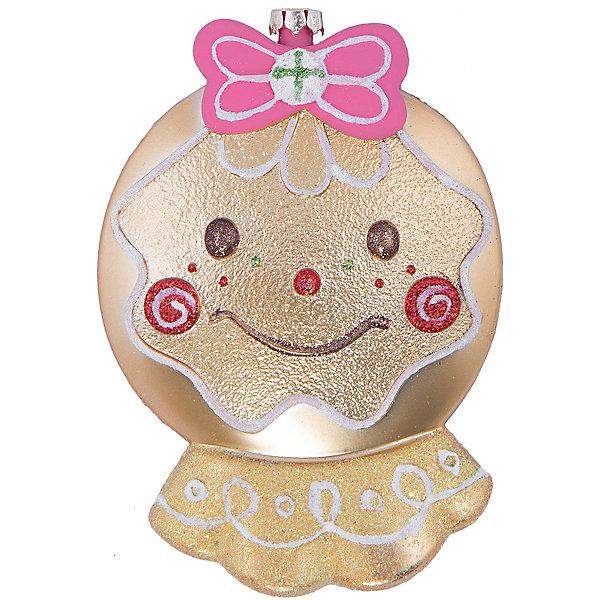 УкрашениеЁлочные игрушки<br>Украшение – это декоративное украшение принесет в ваш дом ни с чем несравнимое ощущение волшебства!<br>Оригинальное новогоднее украшение прекрасно подойдет для праздничного декора дома и новогодней ели. Украшение выполнено из пластика в виде улыбающегося колобка с бантиком, украшенного блестками. С помощью специальной петельки его можно повесить в любом понравившемся вам месте. Но, конечно, удачнее всего такая игрушка будет смотреться на праздничной елке. Оригинальный дизайн и красочность исполнение создадут праздничное настроение. Новогодние украшения приносят в дом волшебство и ощущение праздника и создают атмосферу тепла, веселья и радости.<br><br>Дополнительная информация:<br><br>- Размер: 10,2 x 3,8 x 15,3 см.<br>- Цвет: золотистый<br>- Материал: пластик<br><br>Украшение можно купить в нашем интернет-магазине.<br>Ширина мм: 153; Глубина мм: 38; Высота мм: 102; Вес г: 52; Возраст от месяцев: 36; Возраст до месяцев: 2147483647; Пол: Унисекс; Возраст: Детский; SKU: 4276434;