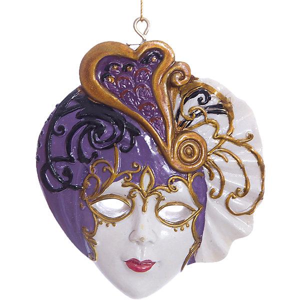 Украшение Венецианская маскаДетские карнавальные маски<br>Новогоднее украшение – это декоративное украшение замечательно украсит интерьер.<br>Изящное новогоднее украшение выполнено из полирезины в виде венецианской маски. С помощью специальной текстильной петельки украшение можно повесить в любом понравившемся вам месте. Но, конечно, удачнее всего такая игрушка будет смотреться на праздничной елке. Новогодние украшения приносят в дом волшебство и ощущение праздника. Создайте в своем доме атмосферу веселья и радости, украшая всей семьей новогоднюю елку нарядными игрушками, которые будут из года в год накапливать теплоту воспоминаний.<br><br>Дополнительная информация:<br><br>- Размер: 7,4 x 6,5 см.<br>- Цвет: белый, сиреневый<br>- Материал: полирезина<br><br>Новогоднее украшение принесет в ваш дом ни с чем несравнимое ощущение волшебства!<br><br>Новогоднее украшение можно купить в нашем интернет-магазине.<br><br>Ширина мм: 85<br>Глубина мм: 75<br>Высота мм: 75<br>Вес г: 100<br>Возраст от месяцев: 36<br>Возраст до месяцев: 2147483647<br>Пол: Унисекс<br>Возраст: Детский<br>SKU: 4276446
