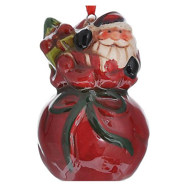 Новогоднее украшение Дед МорозЁлочные игрушки<br>Новогоднее украшение – это декоративное украшение замечательно украсит интерьер.<br>Изящное новогоднее украшение выполнено из керамики и представляет собой подвеску с изображением Деда Мороза в мешке с подарками. С помощью специальной петельки его можно повесить в любом понравившемся вам месте. Но, конечно, удачнее всего такая игрушка будет смотреться на праздничной елке. Новогодние украшения приносят в дом волшебство и ощущение праздника. Создайте в своем доме атмосферу веселья и радости, украшая новогоднюю елку нарядными игрушками, которые будут из года в год накапливать теплоту воспоминаний.<br><br>Дополнительная информация:<br><br>- Размер: 4,3 х 4,3 х 7,1 см.<br>- Материал: керамика<br><br>Новогоднее украшение принесет в ваш дом ни с чем несравнимое ощущение волшебства!<br><br>Новогоднее украшение можно купить в нашем интернет-магазине.<br><br>Ширина мм: 55<br>Глубина мм: 55<br>Высота мм: 81<br>Вес г: 104<br>Возраст от месяцев: 36<br>Возраст до месяцев: 2147483647<br>Пол: Унисекс<br>Возраст: Детский<br>SKU: 4276461