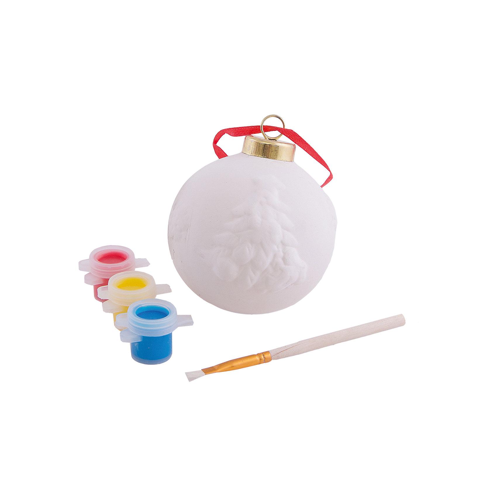 Набор для раскрашивания (керамика, 1 украшение)Набор для раскрашивания, Феникс-Презент, станет замечательным новогодним подарком для Вашего ребенка. В комплект входят керамическое украшение, которое предлагается раскрасить, 3 акварельные краски и кисточка. Итогом работы станет симпатичный елочный шар, украшенный рельефным изображением елки, имеется петелька за которую его можно повесить на елке. Упаковка - блистер.<br> <br><br>Дополнительная информация:<br><br>- В комплекте: подвесное украшение из доломитовой глины, 3 акварельные краски (голубая, желтая, красная), кисть.<br>- Материал: керамика.<br>- Размер украшения: 7 х 7 х 8,5 см.<br>- Размер упаковки: 17,2 х 12 х 7 см.<br>- Вес: 110 гр. <br><br>Набор для раскрашивания (керамика, 1 украшение), Феникс-Презент, можно купить в нашем интернет-магазине.<br><br>Ширина мм: 200<br>Глубина мм: 150<br>Высота мм: 100<br>Вес г: 100<br>Возраст от месяцев: 36<br>Возраст до месяцев: 2147483647<br>Пол: Унисекс<br>Возраст: Детский<br>SKU: 4276485