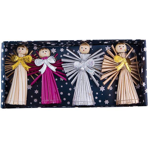 Украшение АнгелыЁлочные игрушки<br>Украшение Ангелы, Феникс-Презент, замечательно украсит Вашу елку или интерьер на новогодние и рождественские праздники и создаст радостную волшебную атмосферу. В комплекте 4 украшения из соломки в виде разноцветных фигурок ангелов, декорированных блестящими бантиками. Поверхность игрушек покрыта лаком, имеются петельки, за которые их можно повесить в любом понравившемся Вам месте.<br><br>Дополнительная информация:<br><br>- В комплекте: 4 шт.<br>- Материал: соломка.<br>- Размер украшения: 9 см.<br>- Размер упаковки: 21 х 10 х 3 см.<br>- Вес: 67 гр.<br><br>Украшение Ангелы, Феникс-Презент, можно купить в нашем интернет-магазине.<br>Ширина мм: 30; Глубина мм: 90; Высота мм: 205; Вес г: 67; Возраст от месяцев: 36; Возраст до месяцев: 2147483647; Пол: Унисекс; Возраст: Детский; SKU: 4276512;