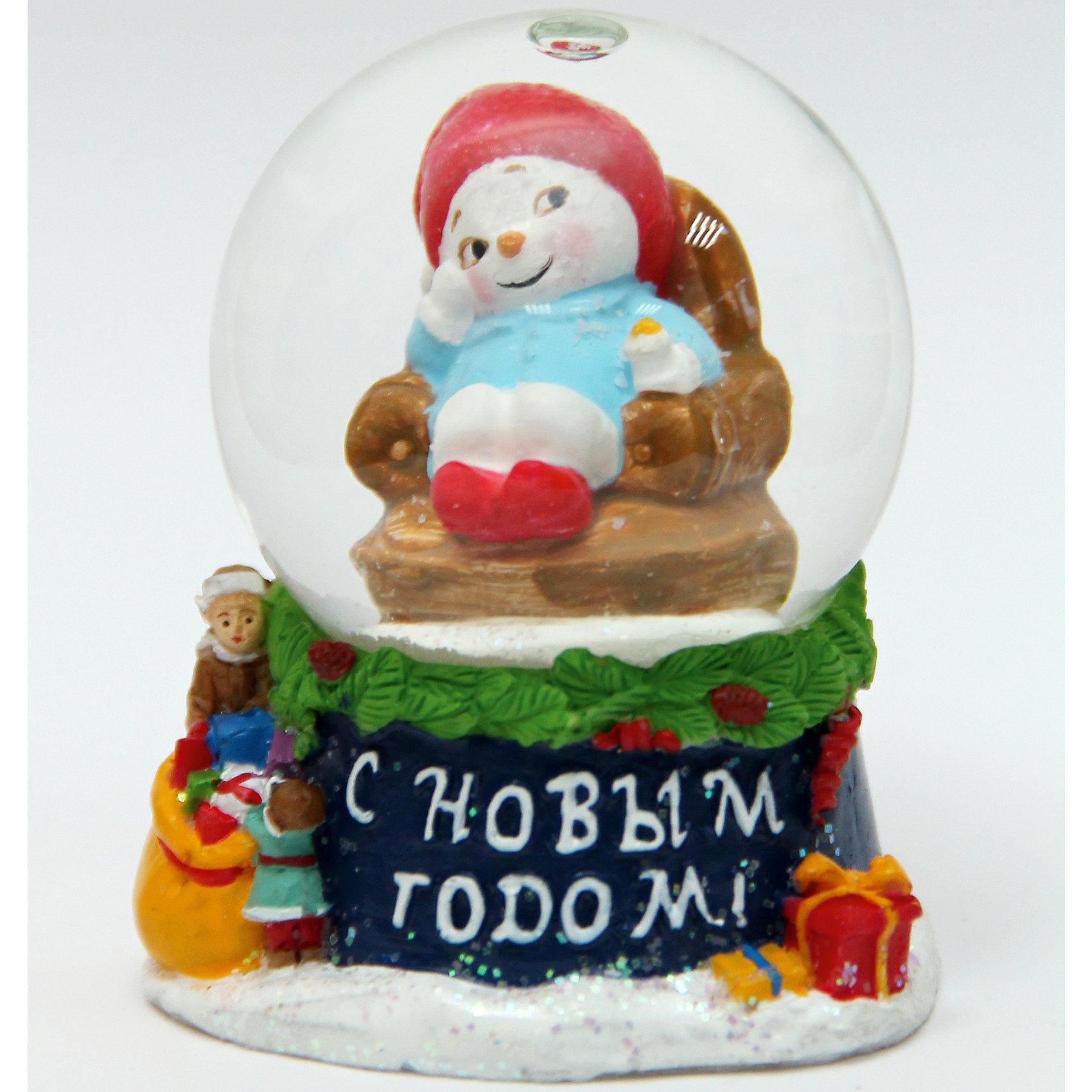 Феникс-Презент Новогодняя фигурка Снеговик в кресле украшение для интерьера сверкающий шар