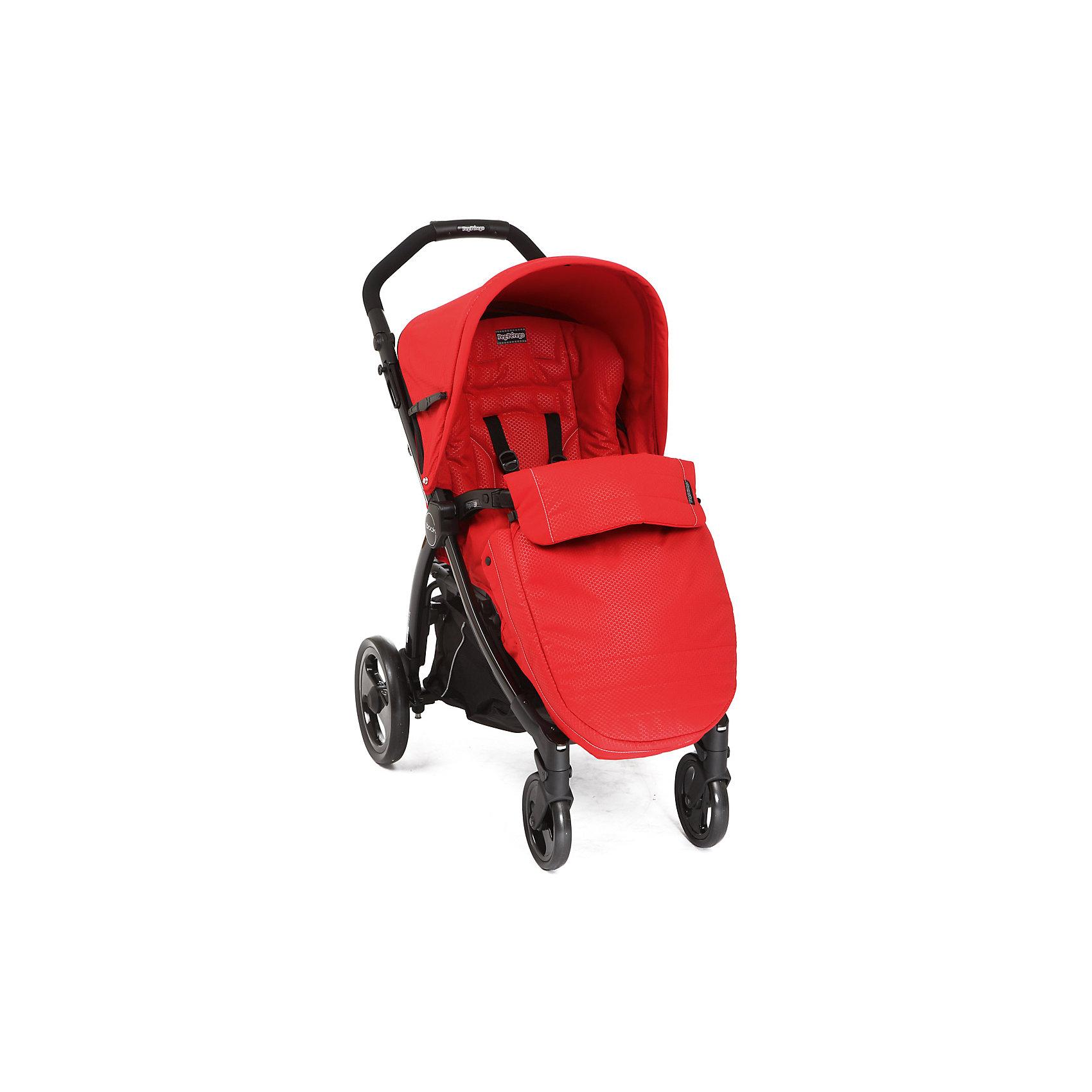 Прогулочная коляска Peg-Perego Book Completo, Mod Red, красныйПрогулочные коляски<br>Прогулочная коляска Book Completo (Бук Комплето), Peg-Perego (Пег-Перего) – это стильная и практичная прогулочная коляска, которая понравится родителям, ценящим активный образ жизни. Коляска легко управляется даже одной рукой, благодаря передним поворотным колесам, а большие по диаметру задние колеса обеспечивают хорошую проходимость по бездорожью и снегу. Коляска имеет широкое, длинное и комфортабельное сиденье, а возможность удлинения спального места за счет подножки и регулируемый наклон спинки позволяет малышу комфортно спать и отдыхать во время прогулки. Для детей, которые уже могут самостоятельно сидеть, в комплекте идет теплый чехол на ножки, который согреет малыша в холодную погоду. В такой коляске малышу будет комфортно в любую погоду и в любых дорожных условиях!<br><br>Характеристики:<br>-Тип колес: 4 одинарных ненадувных колеса<br>-Поворотные передние колеса с возможностью фиксации, фиксированные задние колеса<br>-Регулировка эргономичной ручки по высоте<br>-Регулируемая подножка: 2 положения<br>-Регулировка наклона спинки: 4 положения, включая горизонтальное<br>-Для детей до 15 кг<br>-Механизм складывания: книжка<br>-Съемный защитный бампер для защиты от выпадения ребенка<br>-Легкий уход: возможность снять и постирать обивку при температуре до 30 градусов, съемные колеса<br>-Пятиточечные ремни безопасности<br>-Легкая и прочная алюминиевая рама <br>-Малышу будет очень комфортно под капюшоном со встроенной москитной сеткой и прозрачным окошком. Специальная петелька для крепления подвесной игрушки. Легким движением руки Вы можно расстегнуть молнию и превратить капюшон в солнцезащитный тент<br>-Удобный ножной тормоз: одним движением блокируются оба колеса<br>-Удобная система сложения одной рукой: шасси складывается вместе с прогулочным блоком <br>-Прогулочный блок НЕ реверсивный<br><br>Дополнительная информация:<br>Комплектация: шасси, прогулочный блок с капюшоном, дождевик,