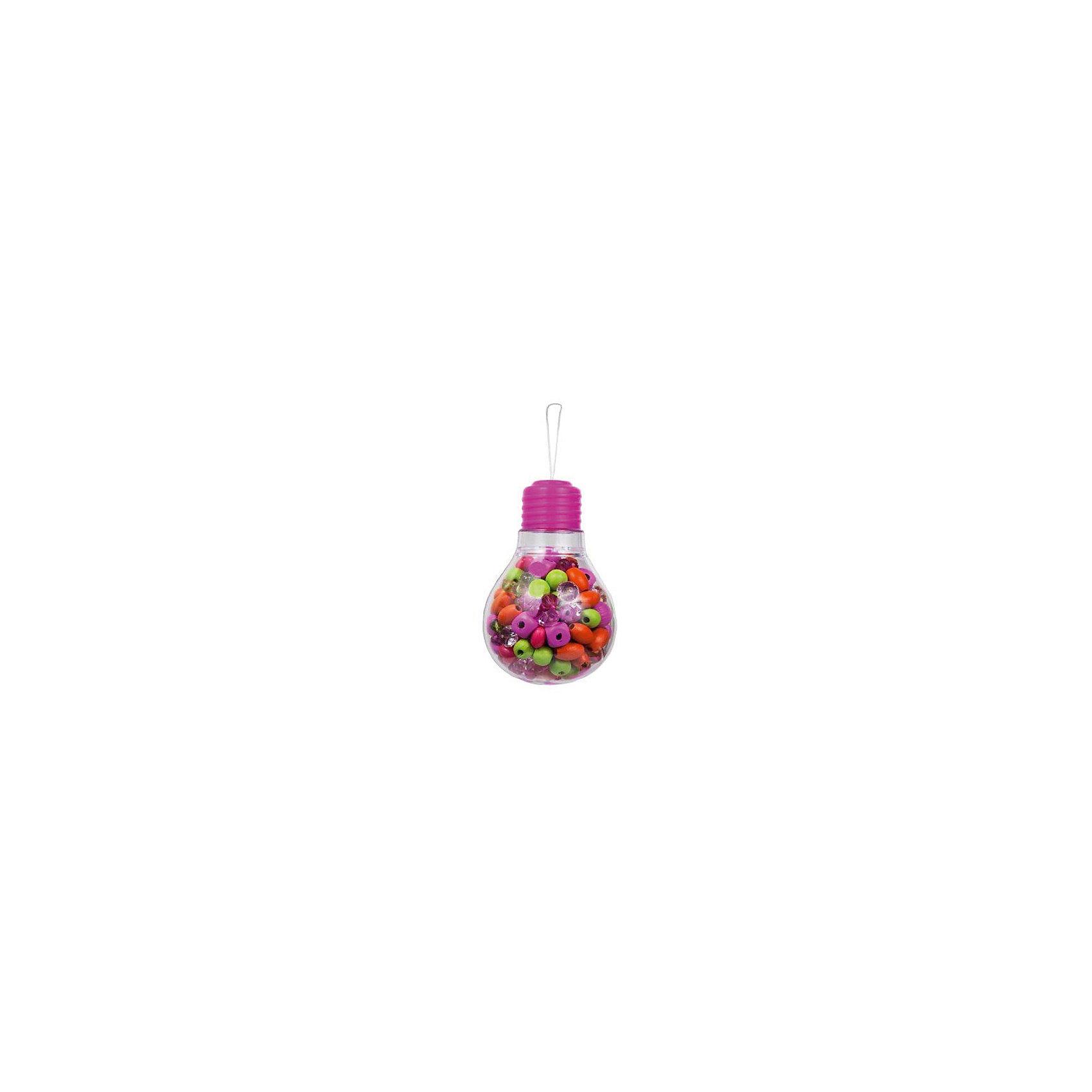 Набор бусин  Розовая лампочкаВ Наборе бусин  Розовая лампочка есть все самое необходимое для создания разнообразных бус, колье или браслетов: разноцветные бусинки и хлопковые веревочки. Разные фактуры и формы бусин научат комбинировать и подходить к процессу творчески, проявлять дизайнерские навыки. Все элементы для будущих колье и браслетов подобраны так, что подойдут к любому наряду. Маленькой моднице остается только менять праздничные платья!<br><br>Комплектация: деревянные и пластиковые бусины, хлопковые веревочки, инструкция по сборке<br><br>Дополнительная информация:<br>-Оригинальная упаковка в виде лампочки<br>-Развивает: воображение, творческие способности, усидчивость, мелкую моторику, координацию движений, комбинаторные способности, аккуратность<br>-Вес в упаковке: 260 г<br>-Размеры в упаковке: 8х8х12 см<br>-Материалы: дерево, текстиль, пластик<br><br>Замечательный Набор бусин Розовая лампочка обязательно понравится Вашей девочке, ведь она самостоятельно сможет создавать эксклюзивные украшения, чтобы сделать свой образ еще более красивым и модным! <br><br>Набор бусин  Розовая лампочка можно купить в нашем магазине.<br><br>Ширина мм: 80<br>Глубина мм: 80<br>Высота мм: 120<br>Вес г: 260<br>Возраст от месяцев: 48<br>Возраст до месяцев: 108<br>Пол: Женский<br>Возраст: Детский<br>SKU: 4278031