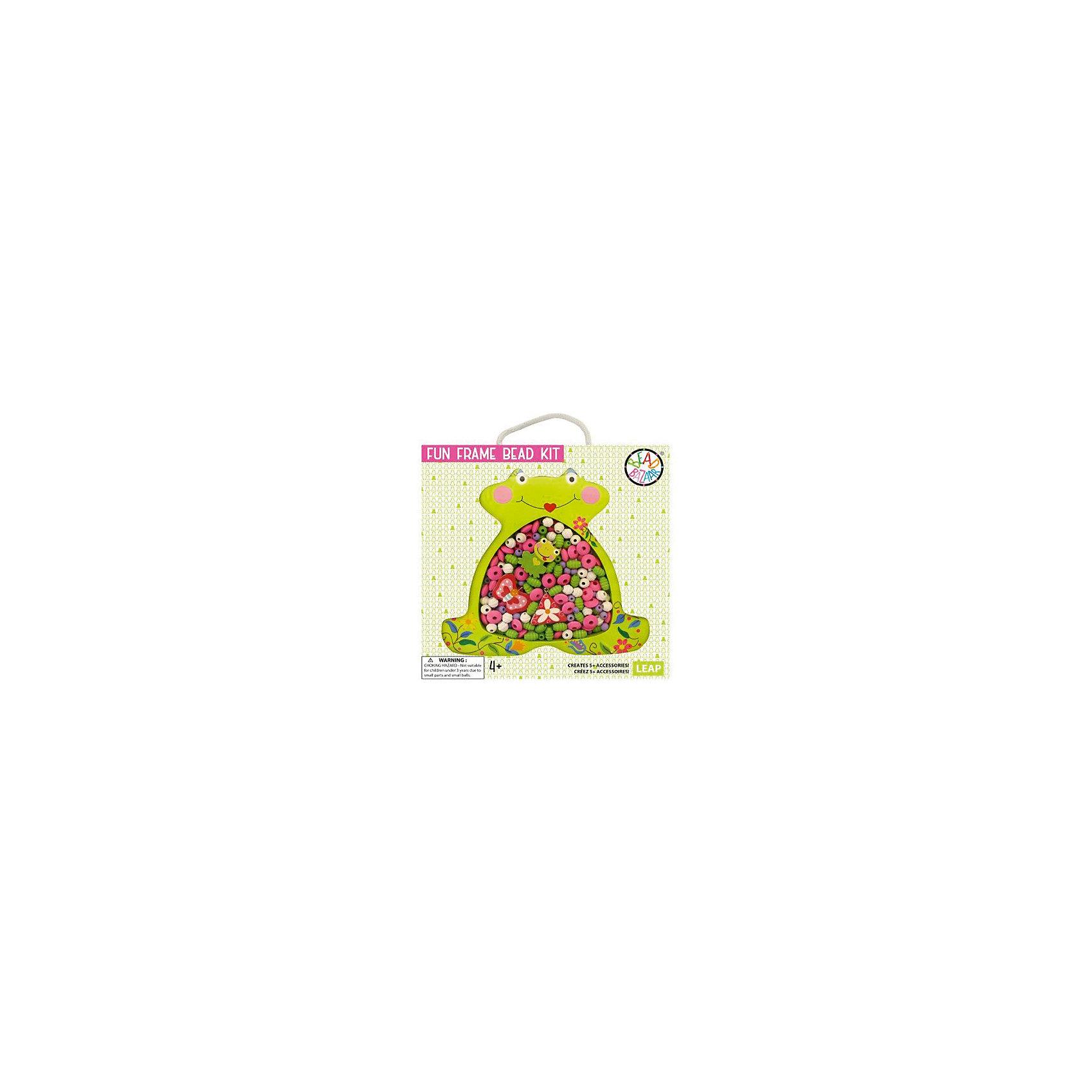 Набор бусин в рамке ЛягушкаНабор бусин в рамке Лягушка состоит из большого количества разноцветных бусинок, используя которые можно создавать стильные бусы или браслетики. Это изумительная возможность продемонстрировать свои творческие способности в полной мере! Оригинальную упаковку с вырезанным контуром забавной лягушки можно использовать в качестве рамки для своего фото.<br><br>Комплектация: деревянные бусины, хлопковые веревочки, 3 подвески, инструкция по сборке<br><br>Дополнительная информация:<br>-Развивает: воображение, творческие способности, усидчивость, мелкую моторику, координацию движений, комбинаторные способности, аккуратность<br>-Вес в упаковке: 100 г<br>-Размеры в упаковке: 24х25х3 см<br>-Материалы: дерево, текстиль<br><br>С Набором бусин Лягушка Ваша девочка сможет сделать себе комплект украшений и быть самой красивой!<br><br>Набор бусин в рамке Лягушка можно купить в нашем магазине.<br><br>Ширина мм: 240<br>Глубина мм: 250<br>Высота мм: 30<br>Вес г: 100<br>Возраст от месяцев: 48<br>Возраст до месяцев: 108<br>Пол: Женский<br>Возраст: Детский<br>SKU: 4278047