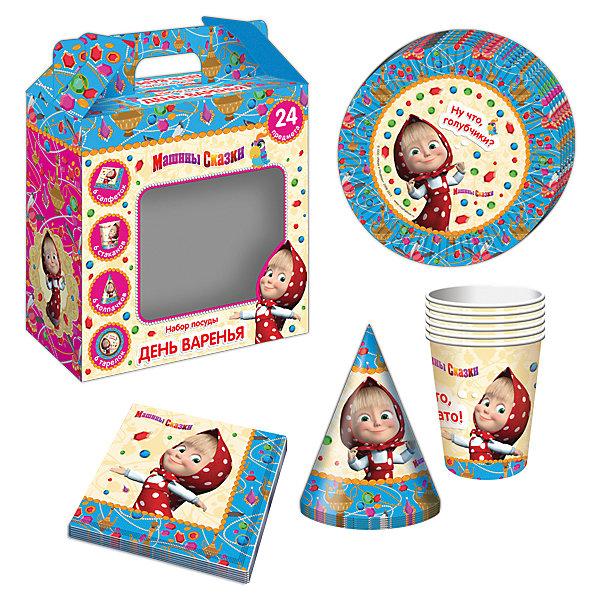 Набор посуды Машины сказки (24 предмета)Детские наборы одноразовой посуды<br>Набор посуды Машины сказки (24 предмета) - этот набор замечательно подойдет для детского праздника и поможет красиво сервировать стол.<br>С подарочным набором «Машины сказки» детский праздник станет по-настоящему незабываемым! Красочный дизайн с любимой героиней поднимет настроение всем: и детям, и даже взрослым. Колпачки помогут организовать множество увлекательных игр. А красивая посуда и салфетки ярко украсят стол и принесут практическую пользу: одноразовые тарелки и стаканы почти невесомы, не могут разбиться, их не надо мыть. Сделанная из бумаги, такая посуда абсолютно безопасна и, благодаря специальному покрытию, прекрасно удерживает еду и напитки.<br><br>Дополнительная информация:<br><br>- В наборе 24 предмета на 6 персон: 6 тарелок диаметром 18 см, 6 стаканов объемом 210 мл, 6 бумажных колпачков на резинках, 6 бумажных салфеток<br>- Материал: бумага<br>- Упаковка: красочная подарочная коробка<br>- Размер упаковки: 190 х 240 х 85 мм.<br>- Вес: 300 гр.<br><br>Набор посуды Машины сказки (24 предмета) можно купить в нашем интернет-магазине.<br><br>Ширина мм: 190<br>Глубина мм: 240<br>Высота мм: 85<br>Вес г: 300<br>Возраст от месяцев: 36<br>Возраст до месяцев: 84<br>Пол: Женский<br>Возраст: Детский<br>SKU: 4278307