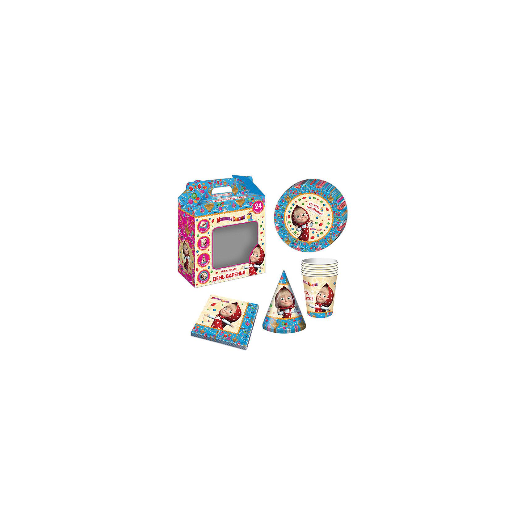 Набор посуды Машины сказки (24 предмета)Маша и Медведь<br>Набор посуды Машины сказки (24 предмета) - этот набор замечательно подойдет для детского праздника и поможет красиво сервировать стол.<br>С подарочным набором «Машины сказки» детский праздник станет по-настоящему незабываемым! Красочный дизайн с любимой героиней поднимет настроение всем: и детям, и даже взрослым. Колпачки помогут организовать множество увлекательных игр. А красивая посуда и салфетки ярко украсят стол и принесут практическую пользу: одноразовые тарелки и стаканы почти невесомы, не могут разбиться, их не надо мыть. Сделанная из бумаги, такая посуда абсолютно безопасна и, благодаря специальному покрытию, прекрасно удерживает еду и напитки.<br><br>Дополнительная информация:<br><br>- В наборе 24 предмета на 6 персон: 6 тарелок диаметром 18 см, 6 стаканов объемом 210 мл, 6 бумажных колпачков на резинках, 6 бумажных салфеток<br>- Материал: бумага<br>- Упаковка: красочная подарочная коробка<br>- Размер упаковки: 190 х 240 х 85 мм.<br>- Вес: 300 гр.<br><br>Набор посуды Машины сказки (24 предмета) можно купить в нашем интернет-магазине.<br><br>Ширина мм: 190<br>Глубина мм: 240<br>Высота мм: 85<br>Вес г: 300<br>Возраст от месяцев: 36<br>Возраст до месяцев: 84<br>Пол: Женский<br>Возраст: Детский<br>SKU: 4278307