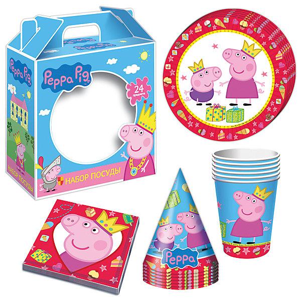 Набор посуды Пеппа-принцесса (24 предмета)Детские наборы одноразовой посуды<br>Набор посуды Пеппа-принцесса (24 предмета) - этот набор замечательно подойдет для детского праздника и поможет красиво сервировать стол.<br>С подарочным набором «Пеппа-принцесса» детский праздник станет по-настоящему незабываемым! Красочный дизайн с веселой свинкой поднимет настроение всем: и детям, и даже взрослым. Колпачки помогут организовать множество увлекательных игр. А красивая посуда и салфетки ярко украсят стол и принесут практическую пользу: одноразовые тарелки и стаканы почти невесомы, не могут разбиться, их не надо мыть. Сделанная из бумаги, такая посуда абсолютно безопасна и, благодаря специальному покрытию, прекрасно удерживает еду и напитки.<br><br>Дополнительная информация:<br><br>- В наборе 24 предмета на 6 персон: 6 тарелок диаметром 18 см, 6 стаканов объемом 210 мл, 6 бумажных колпачков на резинках, 6 бумажных салфеток<br>- Материал: бумага<br>- Упаковка: красочная подарочная коробка<br>- Размер упаковки: 190 х 240 х 85 мм.<br>- Вес: 300 гр.<br><br>Набор посуды Пеппа-принцесса (24 предмета) можно купить в нашем интернет-магазине.<br><br>Ширина мм: 400<br>Глубина мм: 200<br>Высота мм: 200<br>Вес г: 300<br>Возраст от месяцев: 36<br>Возраст до месяцев: 84<br>Пол: Унисекс<br>Возраст: Детский<br>SKU: 4278308