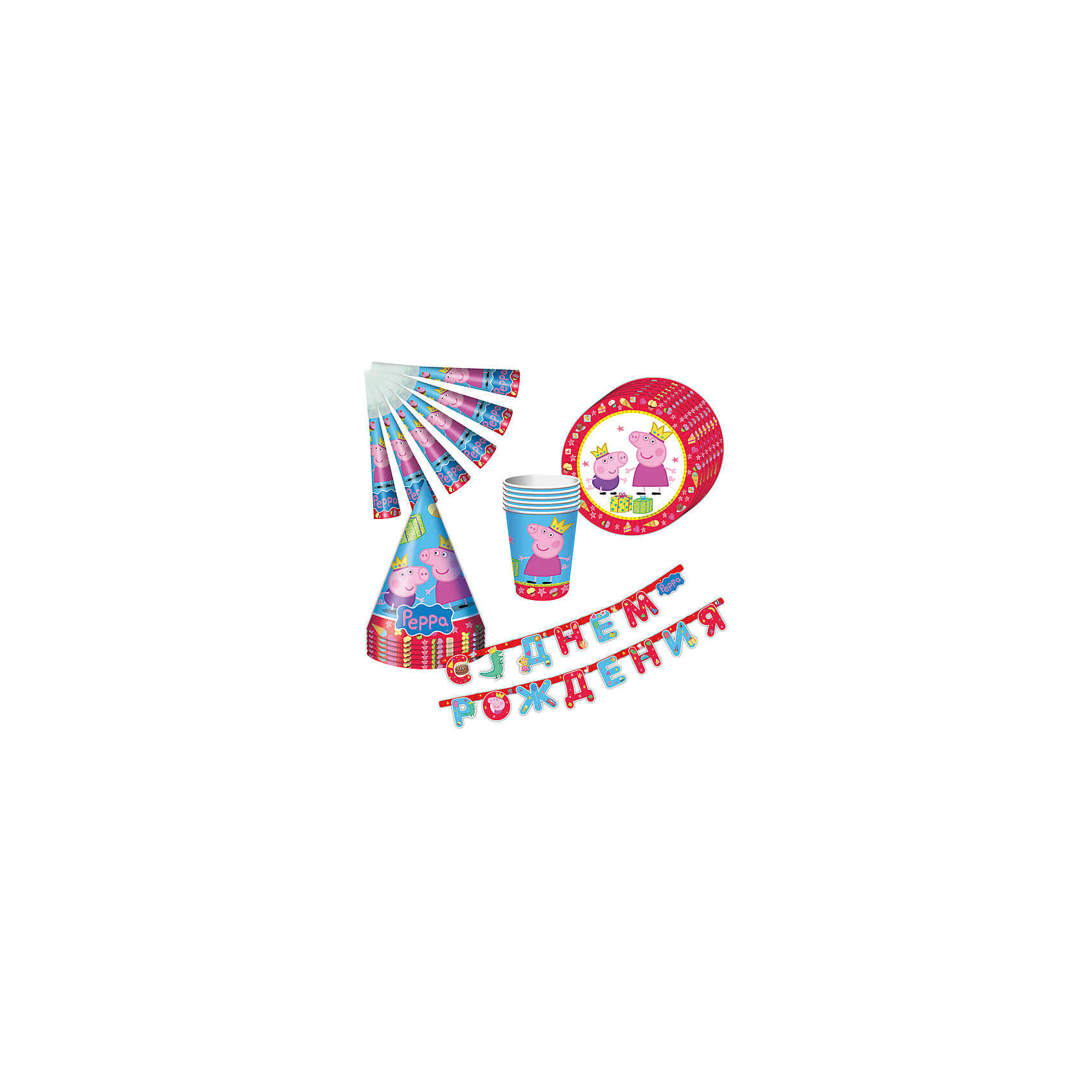 Набор посуды Пеппа-принцесса (25 предметов)Детские наборы одноразовой посуды<br>Набор посуды Пеппа-принцесса (25 предметов) - этот красочный набор послужит идеальным решением для проведения дня рождения.<br>С набором «Пеппа-принцесса» День Рождения ребенка станет по-настоящему незабываемым! Красочный дизайн с веселой свинкой поднимет настроение всем: и детям, и даже взрослым. Гирлянда преобразит помещение, колпачки и дудочки помогут организовать множество увлекательных игр. А красивая посуда ярко украсит стол и принесет практическую пользу: одноразовые тарелки и стаканы почти невесомы, не могут разбиться, их не надо мыть. Сделанная из бумаги, такая посуда абсолютно безопасна и, благодаря специальному покрытию, прекрасно удерживает еду и напитки.<br><br>Дополнительная информация:<br><br>- В наборе 25 предметов на 6 персон: 6 тарелок диаметром 23 см, 6 стаканов объемом 210 мл, 6 бумажных колпачков на резинках, 6 бумажных дудочек, 1 бумажная гирлянда с надписью «С Днем Рождения» длиной 2,5 м<br>- Материал: бумага<br>- Упаковка: красочная подарочная коробка<br>- Размер упаковки: 300 х 330 x 80 мм.<br>- Вес: 300 гр.<br><br>Набор посуды Пеппа-принцесса (25 предметов) можно купить в нашем интернет-магазине.<br><br>Ширина мм: 400<br>Глубина мм: 200<br>Высота мм: 200<br>Вес г: 300<br>Возраст от месяцев: 36<br>Возраст до месяцев: 84<br>Пол: Унисекс<br>Возраст: Детский<br>SKU: 4278309