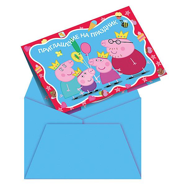 Приглашение в конверте  Пеппа-принцесса 6 штСвинка Пеппа<br>Приглашение в конверте  Пеппа-принцесса 6 шт – этот комплект приглашений в конвертах поможет пригласить друзей в необычной форме.<br>Чтобы праздник удался на славу, создайте гостям праздничное настроение задолго до начала торжества. В этом отлично помогут яркие и привлекательные приглашения с веселыми героями мультфильма «Свинка Пеппа». Получив их, приглашенные окунутся в сказочную атмосферу, и почувствуют приближение настоящего чуда. А что может быть волшебнее детского праздника!<br><br>Дополнительная информация:<br><br>- В наборе: 6 красочных приглашений в конвертах<br>- Размер конверта и приглашения в сложенном виде: 12,5 х 9 см.<br>- Размер приглашения в развернутом виде: 12,5 х 18 см.<br><br>Приглашение в конверте  Пеппа-принцесса 6 шт можно купить в нашем интернет-магазине.<br><br>Ширина мм: 150<br>Глубина мм: 130<br>Высота мм: 20<br>Вес г: 80<br>Возраст от месяцев: 36<br>Возраст до месяцев: 84<br>Пол: Унисекс<br>Возраст: Детский<br>SKU: 4278334