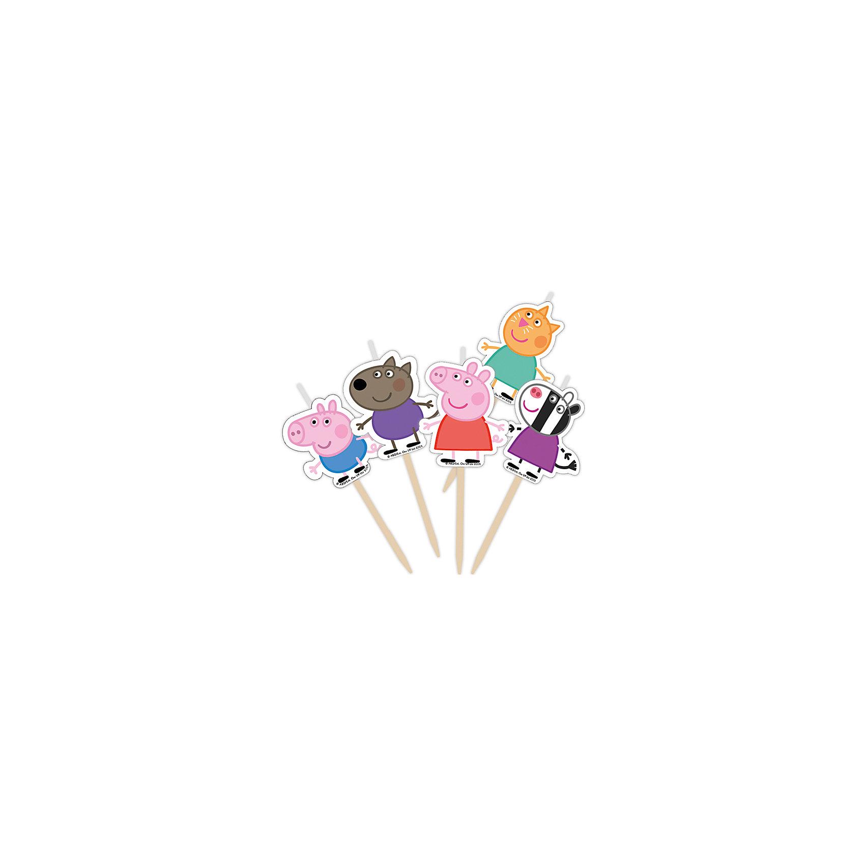 Набор свечей Пеппа и друзья на палочках (5 шт)Набор свечей Пеппа и друзья на палочках (5 шт) - этот оригинальный набор создаст волшебную атмосферу на любимом детском празднике.<br>Что может быть лучше на День Рождения, чем вкусный торт с яркими свечами? Особенно если в центре красуется любимый персонаж. Забавные зверушки из мультфильма «Свинка Пеппа» обязательно порадует именинника и поднимет настроение всем гостям.<br><br>Дополнительная информация:<br><br>- В наборе: 5 фигурных свечей с деревянными держателями<br>- Высота свечей без держателей: 2,8-3,4 см.<br>- Ширина свечей: 2,8-3 см.<br><br>Набор свечей Пеппа и друзья на палочках (5 шт) можно купить в нашем интернет-магазине.<br><br>Ширина мм: 60<br>Глубина мм: 60<br>Высота мм: 10<br>Вес г: 80<br>Возраст от месяцев: 36<br>Возраст до месяцев: 84<br>Пол: Унисекс<br>Возраст: Детский<br>SKU: 4278341