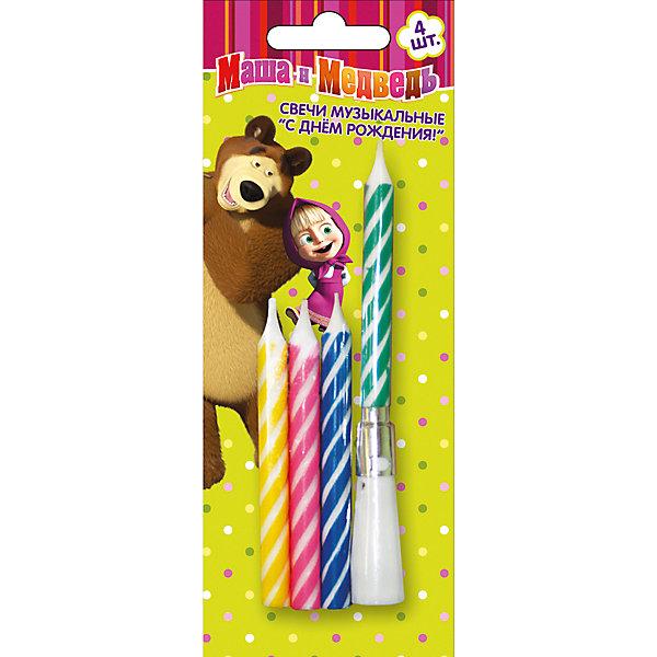 Набор свечей с музыкой Happy B-day 4шт * 8см, Маша и МедведьМаша и Медведь<br>Набор свечей с музыкой Happy B-day 4шт * 8см, Маша и Медведь – этот набор создаст волшебную атмосферу на любимом детском празднике.<br>Каждый ребенок с нетерпением ждет самый главный в его жизни праздник – День Рождения. И праздничный торт с красивыми свечами станет для него символом этого долгожданного торжества! Яркие, веселые огоньки обрадуют кроху, а загадывание желания и задувание свечей превратится в веселую игру, которая обязательно запомнится надолго. И мелодия «Happy Birthday to You!», которую издает музыкальная подставка под свечу, дополнит атмосферу праздника счастливыми нотками.<br><br>Дополнительная информация:<br><br>- В наборе: 4 свечи, музыкальная  подставка под свечу с мелодией «Happy Birthday to You!»<br>- Высота свечи: 8 см.<br>- Материал: стеарин, пластмасса<br>- Срок годности не ограничен<br><br>Набор свечей с музыкой Happy B-day 4шт * 8см, Маша и Медведь можно купить в нашем интернет-магазине.<br>Ширина мм: 60; Глубина мм: 60; Высота мм: 10; Вес г: 80; Возраст от месяцев: 36; Возраст до месяцев: 84; Пол: Женский; Возраст: Детский; SKU: 4278342;
