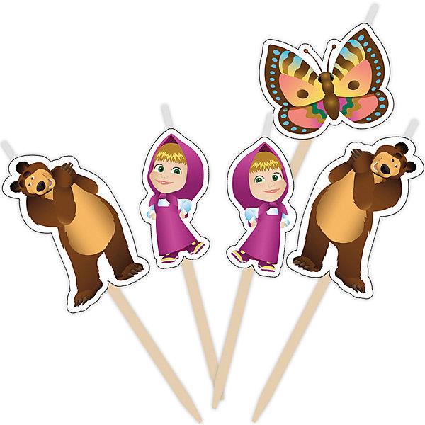 Набор свечей на палочках Маша и Медведь 5 штМаша и Медведь<br>Набор свечей на палочках Маша и Медведь 5 шт – этот набор создаст волшебную атмосферу на любимом детском празднике.<br>Веселые герои мультфильма «Маша и Медведь» желают поздравить вашу малышку с Днем Рождения! Появившись на вкусном праздничном торте в виде очаровательных фигурных свечей, они порадуют именинницу и всех ее гостей. Задувая веселые огоньки на свечах, виновница торжества сможет загадать свое самое заветное желание, которое обязательно исполнится!<br><br>Дополнительная информация:<br><br>- В наборе: 5 фигурных свечей для торта (фигурка Маши – 2 шт., фигурка Медведя – 2 шт., фигурка бабочки – 1 шт)<br>- Держатели деревянные<br>- Высота свечей: 2,8-3,5 см.<br>- Материал: стеарин, дерево<br>- Срок годности: 5 лет<br><br>Набор свечей на палочках Маша и Медведь 5 шт можно купить в нашем интернет-магазине.<br>Ширина мм: 60; Глубина мм: 60; Высота мм: 10; Вес г: 80; Возраст от месяцев: 36; Возраст до месяцев: 84; Пол: Женский; Возраст: Детский; SKU: 4278343;