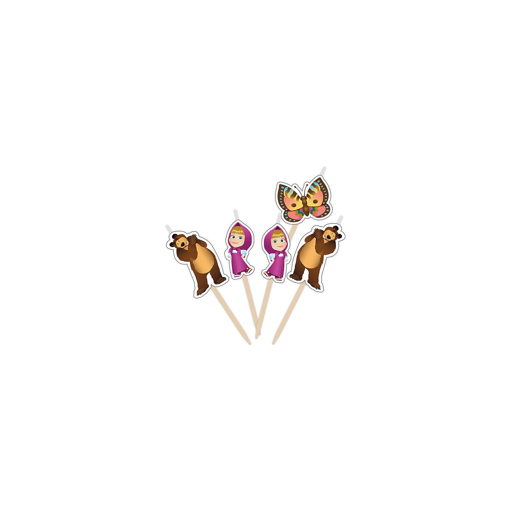 Набор свечей на палочках Маша и Медведь 5 штМаша и Медведь<br>Набор свечей на палочках Маша и Медведь 5 шт – этот набор создаст волшебную атмосферу на любимом детском празднике.<br>Веселые герои мультфильма «Маша и Медведь» желают поздравить вашу малышку с Днем Рождения! Появившись на вкусном праздничном торте в виде очаровательных фигурных свечей, они порадуют именинницу и всех ее гостей. Задувая веселые огоньки на свечах, виновница торжества сможет загадать свое самое заветное желание, которое обязательно исполнится!<br><br>Дополнительная информация:<br><br>- В наборе: 5 фигурных свечей для торта (фигурка Маши – 2 шт., фигурка Медведя – 2 шт., фигурка бабочки – 1 шт)<br>- Держатели деревянные<br>- Высота свечей: 2,8-3,5 см.<br>- Материал: стеарин, дерево<br>- Срок годности: 5 лет<br><br>Набор свечей на палочках Маша и Медведь 5 шт можно купить в нашем интернет-магазине.<br><br>Ширина мм: 60<br>Глубина мм: 60<br>Высота мм: 10<br>Вес г: 80<br>Возраст от месяцев: 36<br>Возраст до месяцев: 84<br>Пол: Женский<br>Возраст: Детский<br>SKU: 4278343