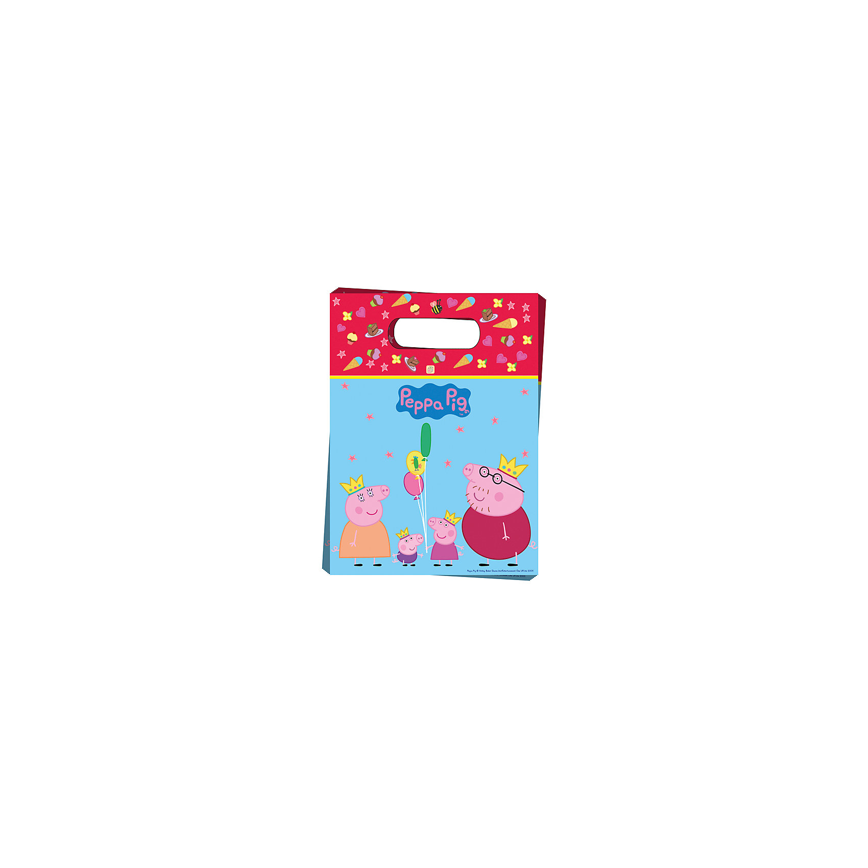 Подарочный пакет Пеппа - Принцесса (6 шт)Подарочный пакет Пеппа-принцесса (6 шт) – этот аксессуар станет незаменимым дополнением к выбранному подарку.<br>Красивые подарочные пакеты – это самое простое и при этом стильное средство эффектно украсить подарок. И чем их больше, тем лучше! В наборе «Пеппа-принцесса» 6 подарочных полиэтиленовых пакетов с героями мультфильма «Свинка Пеппа». Они украсят любые предметы, которые вы захотите подарить малышке, и обязательно подарят ей отличное настроение. Также в пакеты можно упаковывать небольшие презенты победителям конкурсов на детском празднике.<br><br>Дополнительная информация:<br><br>- Количество пакетов: 6<br>- Размер пакета: 17х23 см.<br>- Материал: полиэтилен<br><br>Подарочный пакет Пеппа-принцесса (6 шт) можно купить в нашем интернет-магазине.<br><br>Ширина мм: 170<br>Глубина мм: 230<br>Высота мм: 10<br>Вес г: 80<br>Возраст от месяцев: 36<br>Возраст до месяцев: 84<br>Пол: Унисекс<br>Возраст: Детский<br>SKU: 4278393