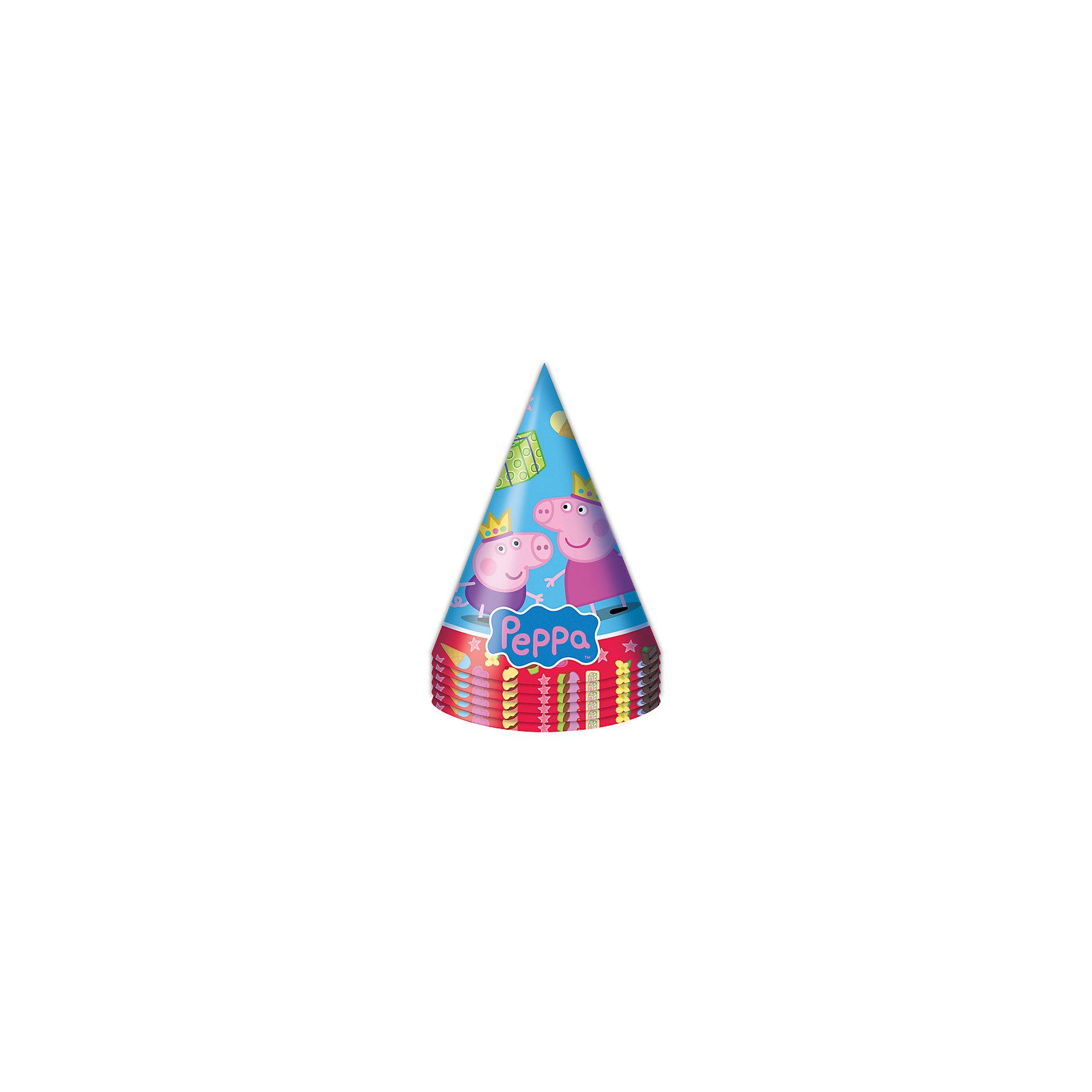 Росмэн Праздничный колпак Пеппа-принцесса, 6 шт росмэн приглашение в конверте пеппа принцесса 6 шт