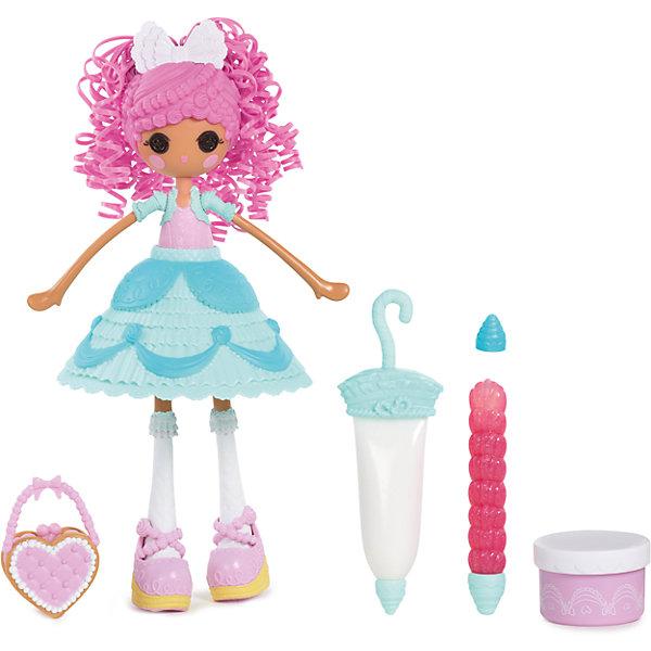 Кукла Глазурь Сладкая фантазия, Lalaloopsy GirlsПопулярные игрушки<br>Яркая и красочная новинка сентября 2015 года - куколка Lalaloopsy в красивом нежно голубом платьице, похожем на маленький кремовый тортик, понравится любой девочке! Настоящая сладкая фантазия! К кукле прилагается комплект из трех кондитерских инструментов, с помощью которых можно украшать платье, волосы и туфельки Лалалупси блестками и мастикой, которых также можно найти в наборе. Почувствуй себя настоящим кондитером с новым набором Lalaloopsy для девочек «Сладкая фантазия»!<br><br>Дополнительная информация:<br><br>- Материал: пластик.<br>- Высота: 25 см.<br>- Комплектация: кукла, платье, сумочка, зонтик, три кондитерских инструмента, блестки, мастика.<br>- Голова, руки, ноги куклы подвижные.<br><br>Куклу Глазурь Сладкая фантазия, Lalaloopsy Girls, можно купить в нашем магазине.<br>Ширина мм: 280; Глубина мм: 310; Высота мм: 70; Вес г: 618; Возраст от месяцев: 36; Возраст до месяцев: 84; Пол: Женский; Возраст: Детский; SKU: 4278423;