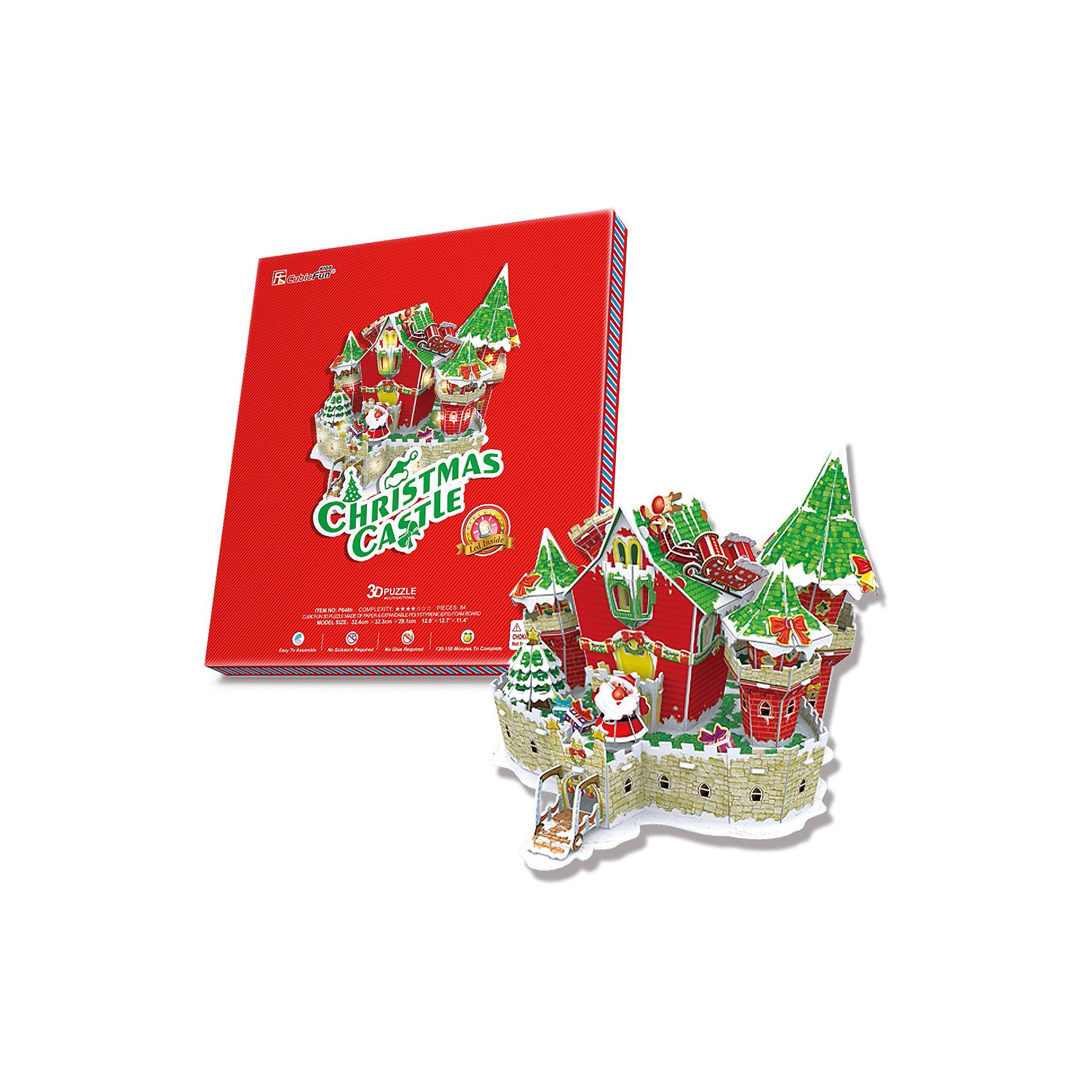 Сказочный рождественский замок, с подсветкой, CubicFun3D пазлы<br>Сказочный рождественский замок  ребенок может смастерить самостоятельно без клея и ножниц.  Детали легко и просто выдавливаются из картона и соединяются между собой с помощью специальных соединительных приспособлений. Этот рождественский замок украсит любую детскую комнату. С ним можно играть или просто поставить на полку и любоваться яркой и красивой поделкой. Игрушка помогает в развитии логики и творческих способностей ребенка, помогает в формировании мышления, речи, внимания, восприятия и воображения; развивает моторику рук; расширяет кругозор ребенка и стимулирует к познанию новой информации.<br><br>Дополнительная информация:<br><br>- Материал: ламинированный поликартон.<br>- Комплектация: детали пазла, инструкция, база со светодиодами.<br>- Элемент питания: 3 ААА батарейки (не входят в комплект).<br>- Размер в собранном виде: 32,3 x 32,4x 29,1 см.<br>- Количество деталей: 84 шт.<br>- Обучающая, яркая и реалистичная модель.<br>- Идеально и легко собирается без инструментов.<br>- Увлекательный игровой процесс.<br><br>Сказочный рождественский замок, с подсветкой, CubicFun, можно купить в нашем магазине.<br><br>Ширина мм: 270<br>Глубина мм: 290<br>Высота мм: 35<br>Вес г: 666<br>Возраст от месяцев: 72<br>Возраст до месяцев: 192<br>Пол: Унисекс<br>Возраст: Детский<br>SKU: 4278434