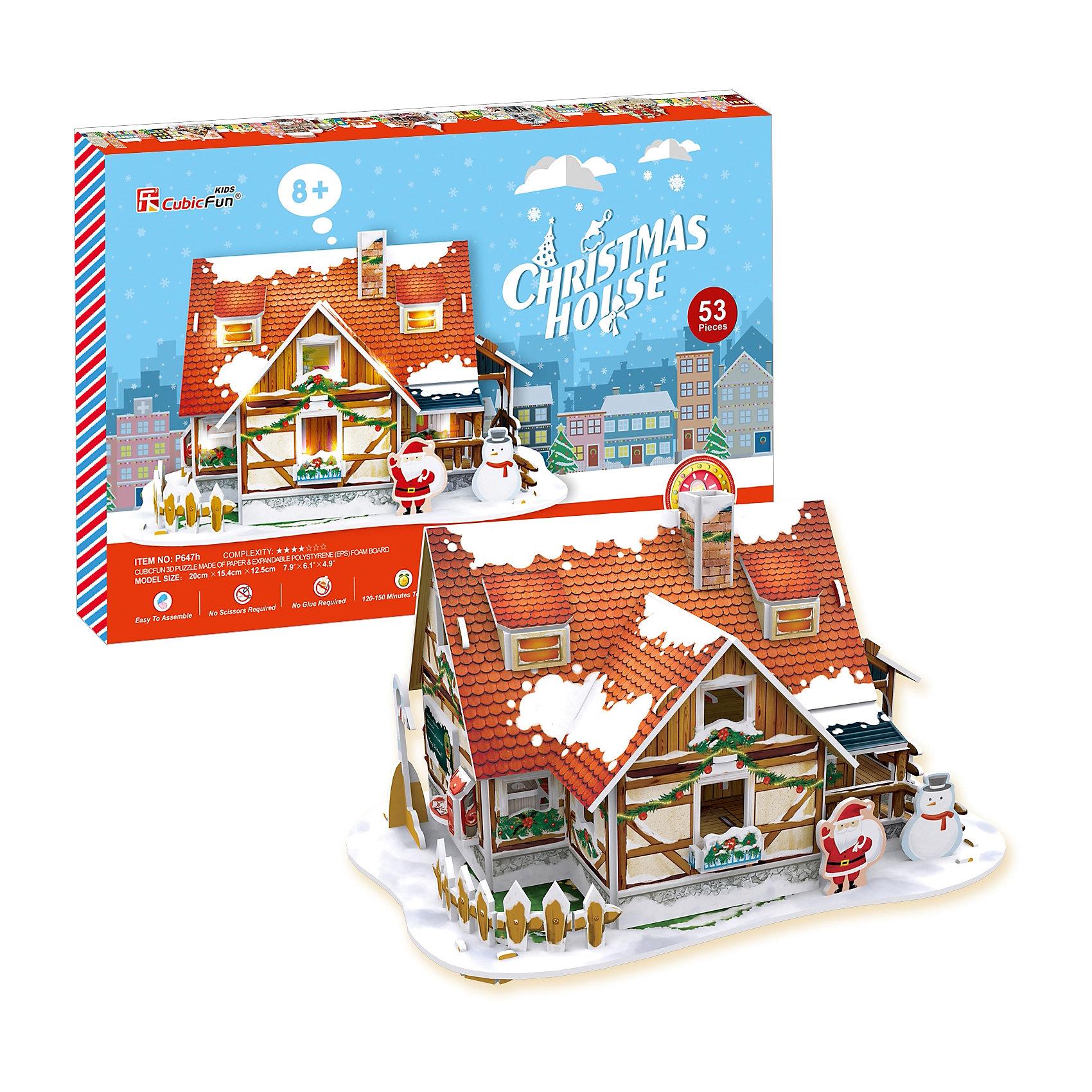 Рождественский домик 1, с подсветкой, CubicFun3D пазлы<br>Сказочный рождественский домик  ребенок может смастерить самостоятельно без клея и ножниц.  Детали легко и просто выдавливаются из картона и соединяются между собой с помощью специальных соединительных приспособлений. Этот домик украсит любую детскую комнату. С ним можно играть или просто поставить на полку и любоваться яркой и красивой поделкой. Игрушка помогает в развитии логики и творческих способностей ребенка, помогает в формировании мышления, речи, внимания, восприятия и воображения; развивает моторику рук; расширяет кругозор ребенка и стимулирует к познанию новой информации.<br><br>Дополнительная информация:<br><br>- Материал: ламинированный поликартон.<br>- Комплектация: детали пазла, инструкция, база со светодиодами.<br>- Элемент питания: 3 ААА батарейки (не входят в комплект).<br>- Размер в собранном виде: 20 х 15,4 х 12,5 см.<br>- Количество деталей: 53 шт.<br>- Обучающая, яркая и реалистичная модель.<br>- Идеально и легко собирается без инструментов.<br>- Увлекательный игровой процесс.<br><br>Рождественский домик 1, с подсветкой, CubicFun, можно купить в нашем магазине.<br><br>Ширина мм: 340<br>Глубина мм: 220<br>Высота мм: 25<br>Вес г: 304<br>Возраст от месяцев: 72<br>Возраст до месяцев: 192<br>Пол: Унисекс<br>Возраст: Детский<br>SKU: 4278435