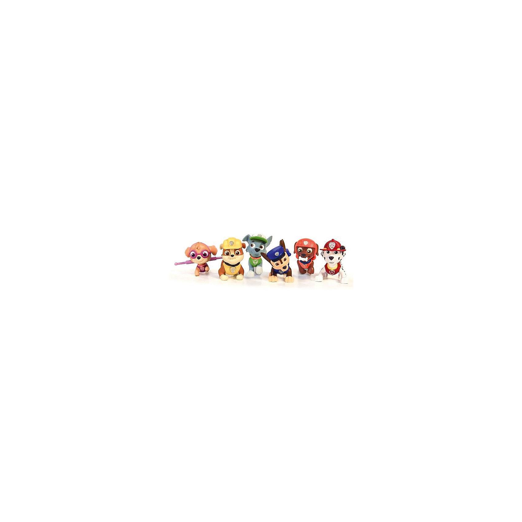 Набор из 6 фигурок, Щенячий патруль, Spin MasterИгрушки<br>Этот набор обязательно понравится всем любителям мультсериала Paw Patrol.  Все фигурки прекрасно детализированы и реалистично раскрашены, очень похожи на героев мультфильма. Здесь есть храбрый Чейз, стойкий Крепыш, целеустремленный Рокки, добряк Маршал, весельчак Зума и умница Скай. Игрушки выполнены из высококачественного пластика безопасного для детей. <br><br>Дополнительная информация:<br><br>- Материал: пластик.<br>- 6 фигурок в наборе.<br>- Жетон спасателя в комплекте.<br>- Размер упаковки: 20 x 8 x 32 см.<br><br>Набор из 6 фигурок, Щенячий патруль, Spin Master, можно купить в нашем магазине.<br><br>Ширина мм: 80<br>Глубина мм: 320<br>Высота мм: 200<br>Вес г: 515<br>Возраст от месяцев: 36<br>Возраст до месяцев: 84<br>Пол: Унисекс<br>Возраст: Детский<br>SKU: 4278440
