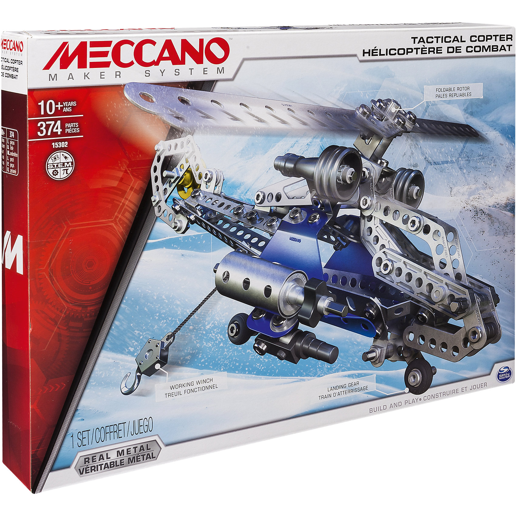 Боевой вертолёт (2 модели), MeccanoМеталлические конструкторы<br>Боевой вертолёт из серии Meccano Elite относится к конструкторам высокой сложности, с функциональными элементами, системой радиоуправления, световыми элементами и т.д. У боевого вертолёта вращаются лопасти винта, выдвигается шасси, с правого борта установлена настоящая лебёдка. Когда ребёнку надоест играть в него, он сможет собрать спортивный планер. Инструкция по сборке и все необходимые инструменты входят в комплект. Все детали конструктора отлиты из высококачественного сплава, на них отсутствуют острые грани и шероховатости.<br><br>Дополнительная информация:<br><br>- Материал: металл, пластик.<br>-  Набор состоит из 280 деталей.<br>- Лопасти винта вращаются.<br>- Лебедка.<br>- Шасси выдвигаются.<br>- Размер упаковки: 40 х 6 х 30 см.<br><br>Боевой вертолёт (2 модели), Meccano (Меккано), можно купить в нашем магазине.<br><br>Ширина мм: 406<br>Глубина мм: 302<br>Высота мм: 68<br>Вес г: 741<br>Возраст от месяцев: 120<br>Возраст до месяцев: 192<br>Пол: Мужской<br>Возраст: Детский<br>SKU: 4278442