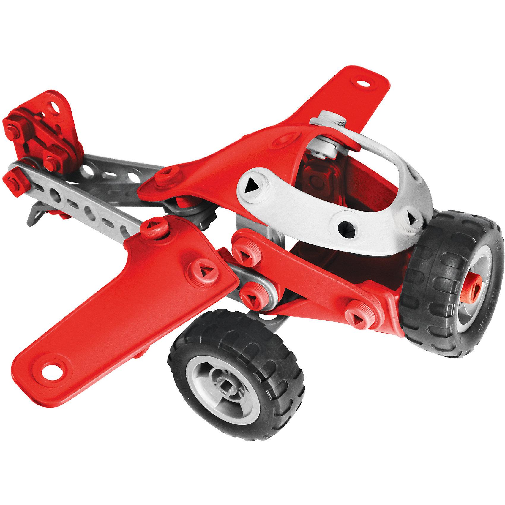 Легкомоторный самолёт (4 модели), MeccanoМеталлические конструкторы<br>Замечательный набор из серии Меккано Джуниор позволяет из одного и того же комплекта деталей собрать несколько разных устройств. Базовая модель в этом наборе – лёгкий самолёт, три дополнительных – это вертолет, гоночный автомобильчик и джип. Как и другие модели этой серии, отличается простотой сборки, большими пластмассовыми (а не металлическими) деталями, отдельные элементы конструктора выполнены из мягкой резины. Набор очень яркий и красочный, отлит из высококачественных и безопасных материалов.<br><br>Дополнительная информация:<br><br>- Материал:  пластик.<br>- Базовая модель: легкий самолет.<br>- Размер упаковки: 40х25х9 см.<br>- Количество деталей: 95<br>- Размер основной игрушки: размах крыльев 33 см, длина 30 см.<br><br>Легкомоторный самолёт (4 модели), Meccano (Меккано), можно купить в нашем магазине.<br><br>Ширина мм: 400<br>Глубина мм: 250<br>Высота мм: 90<br>Вес г: 992<br>Возраст от месяцев: 60<br>Возраст до месяцев: 144<br>Пол: Мужской<br>Возраст: Детский<br>SKU: 4278444