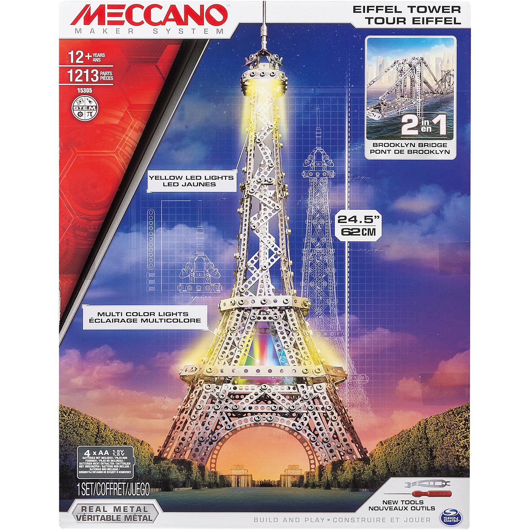 Эйфелева башня (2 модели), MeccanoМеталлические конструкторы<br>Из этого конструкторского набора можно собрать, как основную модель - Эйфелеву башню, так и дополнительную - Бруклинский мост. Конструктор состоит из 1 563 деталей. Башня имеет высокую детализацию, представляя собой уменьшенную копию оригинала. Образ дополняет программируемая подсветка. Конструктор Meccano увлекает не только сборкой, но и последующей эксплуатацией и игрой с ним, благодаря возможности конструировать огромное разнообразие моделей и богатому функционалу. Каждый конструктор имеет набор необходимых инструментов, удобных в использовании, и подробную инструкцию, разработанную таким образом, чтобы он была максимально понятна для детей.<br><br>Дополнительная информация:<br><br>- Материал: металл.<br>- Размер упаковки: 30х40х7 см.<br>- Размер Эйфелевой башни: 19x19x62 см.<br>- Размер моста: 28x10x15 см.<br>- Количество деталей: 1563.<br>- Элемент питания: 4 АА батарейки.<br><br>Эйфелева башня (2 модели), Meccano (Меккано), можно купить в нашем магазине.<br><br>Ширина мм: 223<br>Глубина мм: 211<br>Высота мм: 85<br>Вес г: 146<br>Возраст от месяцев: 120<br>Возраст до месяцев: 192<br>Пол: Мужской<br>Возраст: Детский<br>SKU: 4278449