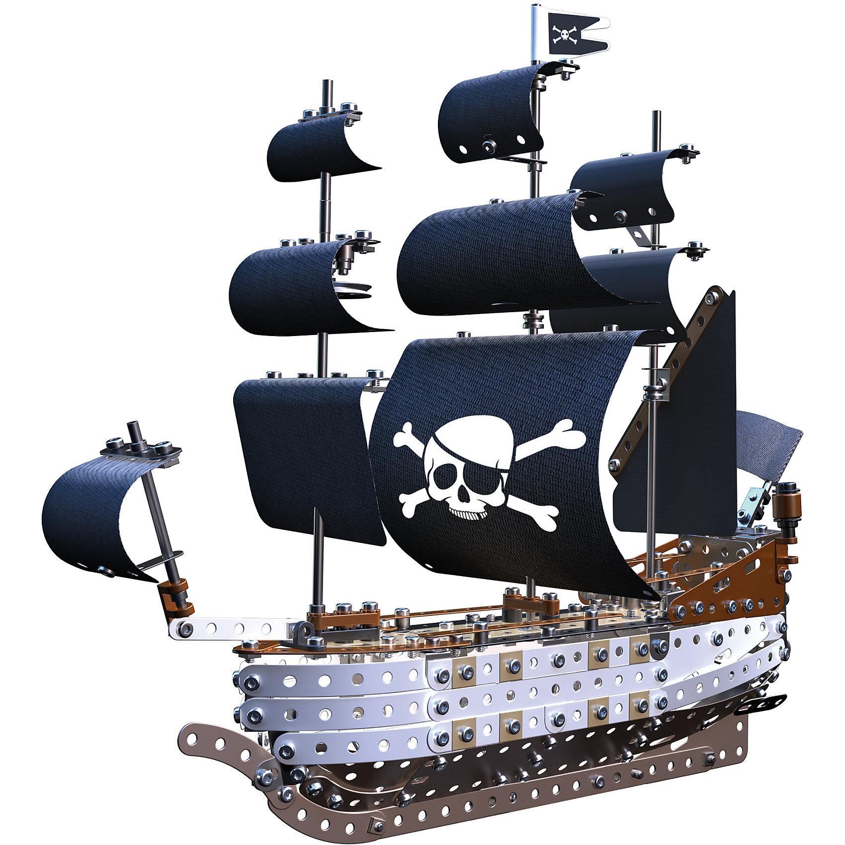 Пиратский корабль, MeccanoМеталлические конструкторы<br>Пиратский корабль Meccano собирается из 630 металлических деталей. Корабль ставится на металлических постамент, закрепляясь на двух сваях. Детали для конструирования модели выполнены в разных цветах, имитирующих дерево. Детали обшивки плотно прилегают друг к другу. Корабль оснащен тремя мачтами, такелаж и снасти прекрасно детализированы. Здесь же размещаются белоснежные паруса и небольшой пиратский флаг с Веселым Роджером.<br>В набор входят специальные инструменты для закрепления деталей. Все металлические элементы можно совместить с другими наборами конструктора Меккано.<br><br>Дополнительная информация:<br><br>- Материал: металл.<br>- Размер упаковки: 40х25х7 см.<br>- Размер корабля: 47х42 см.<br>- Количество деталей: 630<br><br>Пиратский корабль, Meccano (Меккано), можно купить в нашем магазине.<br><br>Ширина мм: 400<br>Глубина мм: 250<br>Высота мм: 70<br>Вес г: 1370<br>Возраст от месяцев: 120<br>Возраст до месяцев: 192<br>Пол: Мужской<br>Возраст: Детский<br>SKU: 4278453